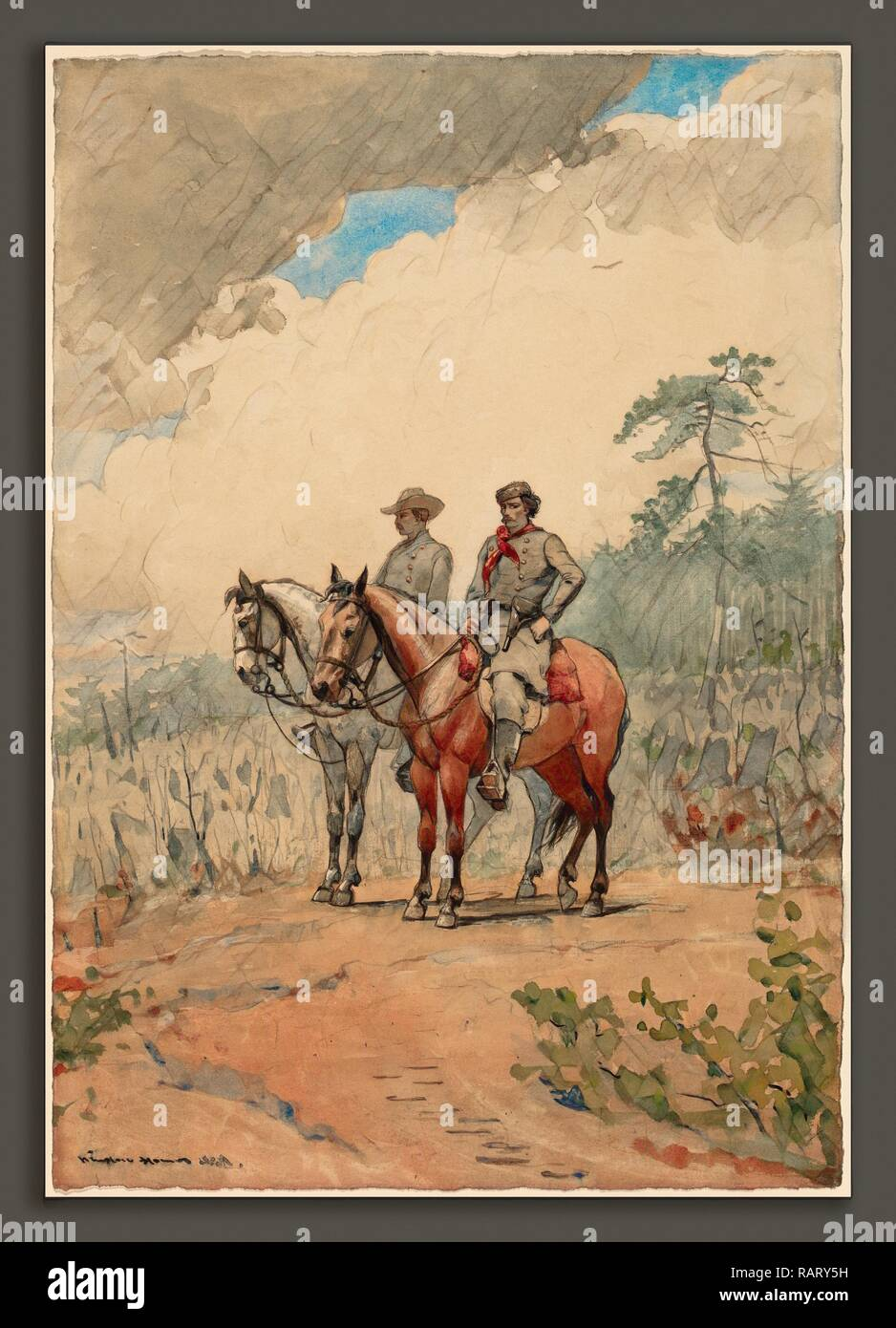 Winslow Homer, Two Scouts, American, 1836 - 1910, 1887, watercolor over graphite on wove paper. Reimagined - Stock Image