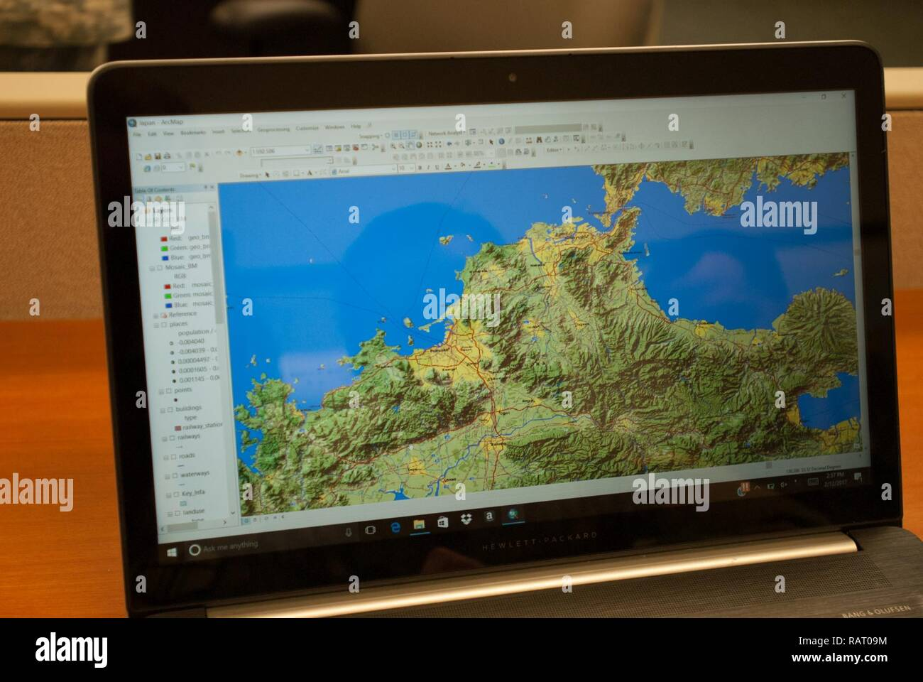 A map of Japan used to support Yama Sakura is displayed in ArcMap, a software suite that geospatial use to create maps and compile data to support the commander's mission. Geospatial engineers produce the maps that will support the commander's next mission, and are a vital component of the Army, Army Reserve, and Total Force - Stock Image