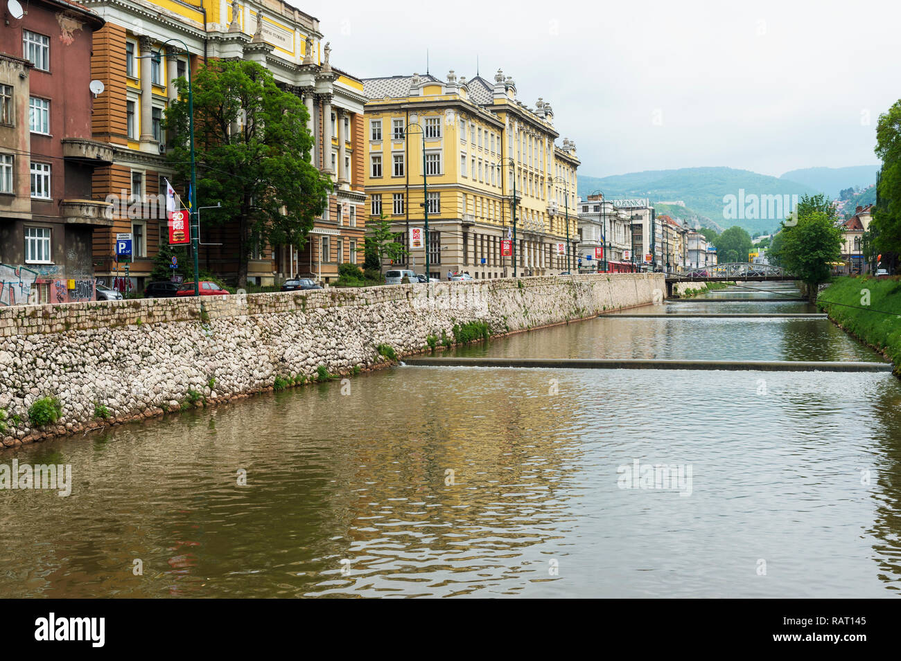 Sarajevo University and Miljacka river, Bosnia and Herzegovina - Stock Image