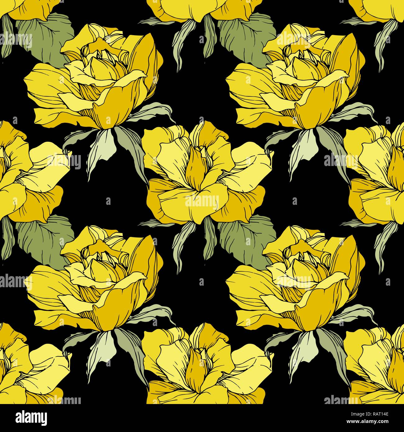 Vector Yellow Rose Floral Botanical Flower Engraved Ink Art Seamless Background Pattern Fabric Wallpaper Print Texture On Black Background Stock Vector Image Art Alamy