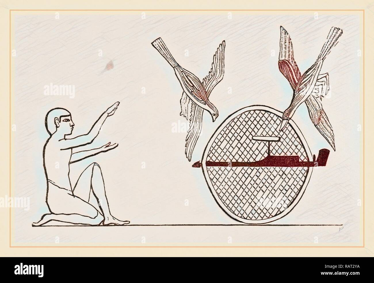 Clap-net of Ancient Egyptians for Bird-catching, Egypt. Reimagined by Gibon. Classic art with a modern twist reimagined - Stock Image