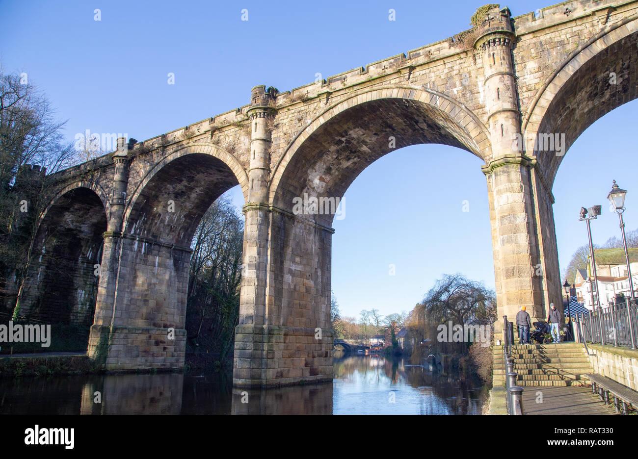 Knaresborough Railway Viaduct Bridge closeup, River Nidd, North Yorkshire, England, UK Stock Photo