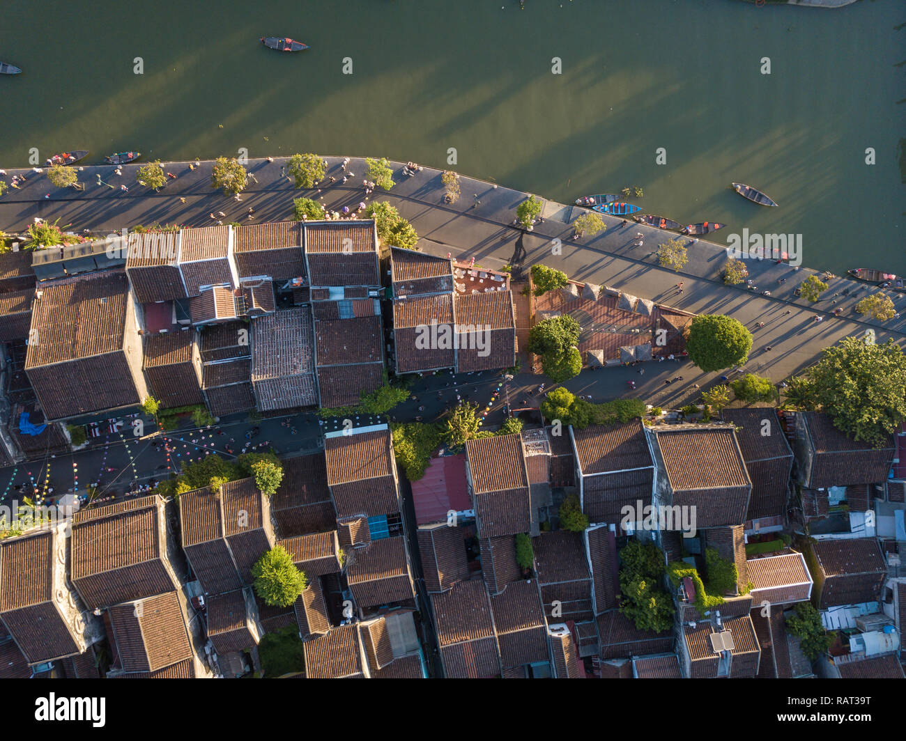 Aerial view of Hoi An old town or Hoian ancient town. Hoi An is UNESCO world heritage, one of the most popular destinations in Vietnam Stock Photo