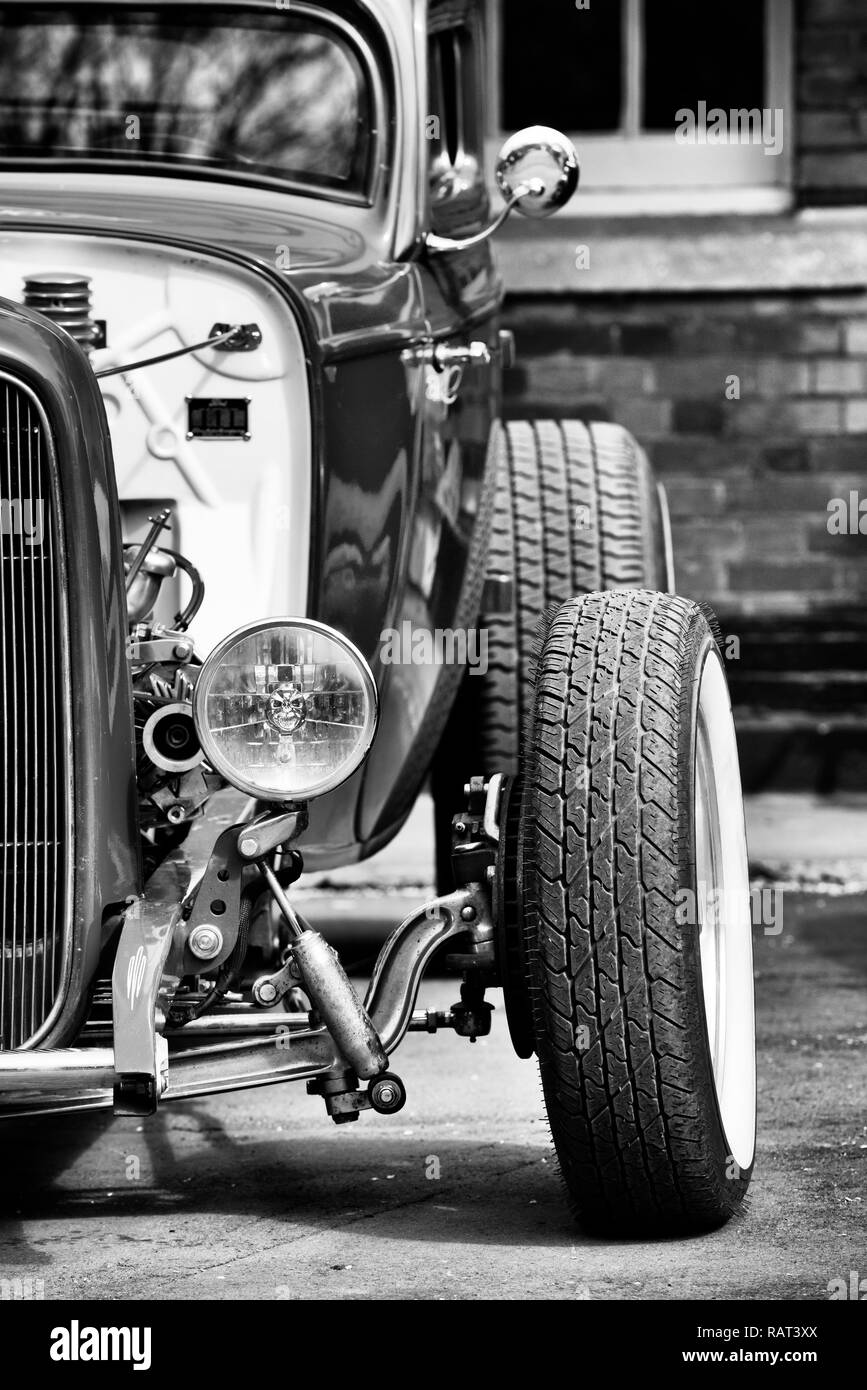 1932 Custom Hot Rod Coupe car at Bicester Heritage centre. Oxfordshire, England. Black and White - Stock Image