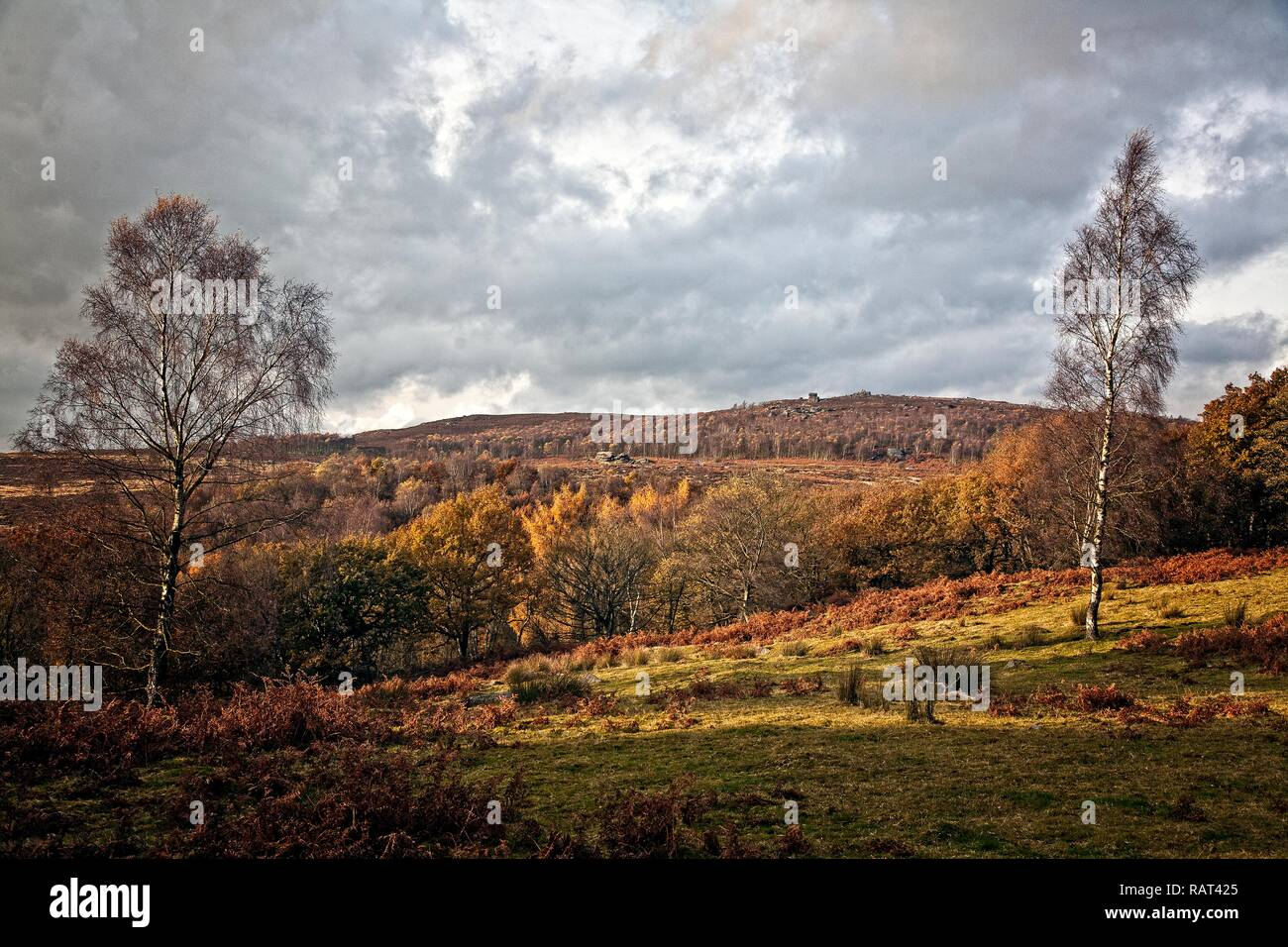 SCENIC VIEW OF MOTHER CAP FROM THE LONGSHAW ESTATE PEAK DISTRICT NATIONAL PARK UK - Stock Image