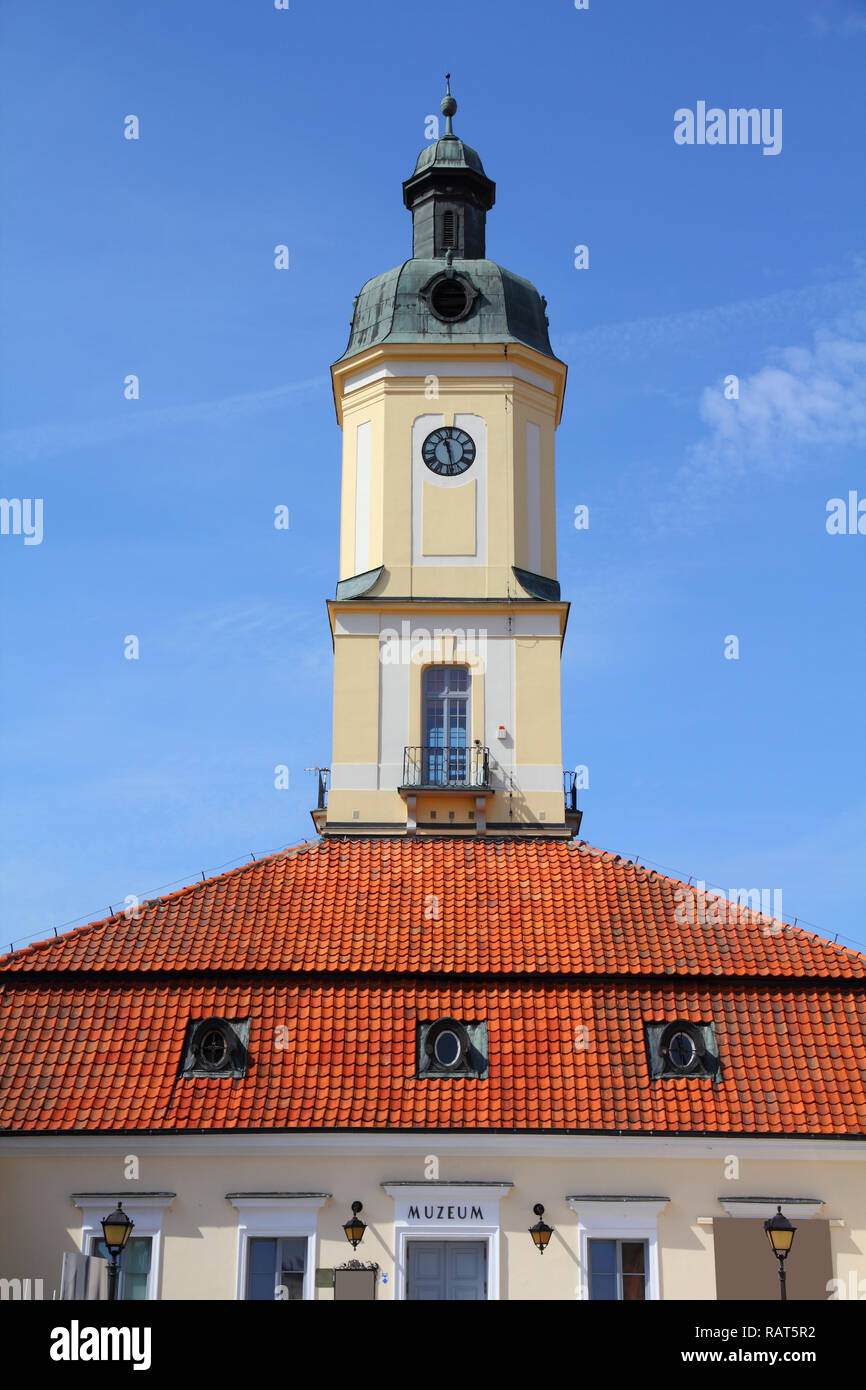 Bialystok, Poland - city architecture, town hall building. Podlaskie province. Stock Photo