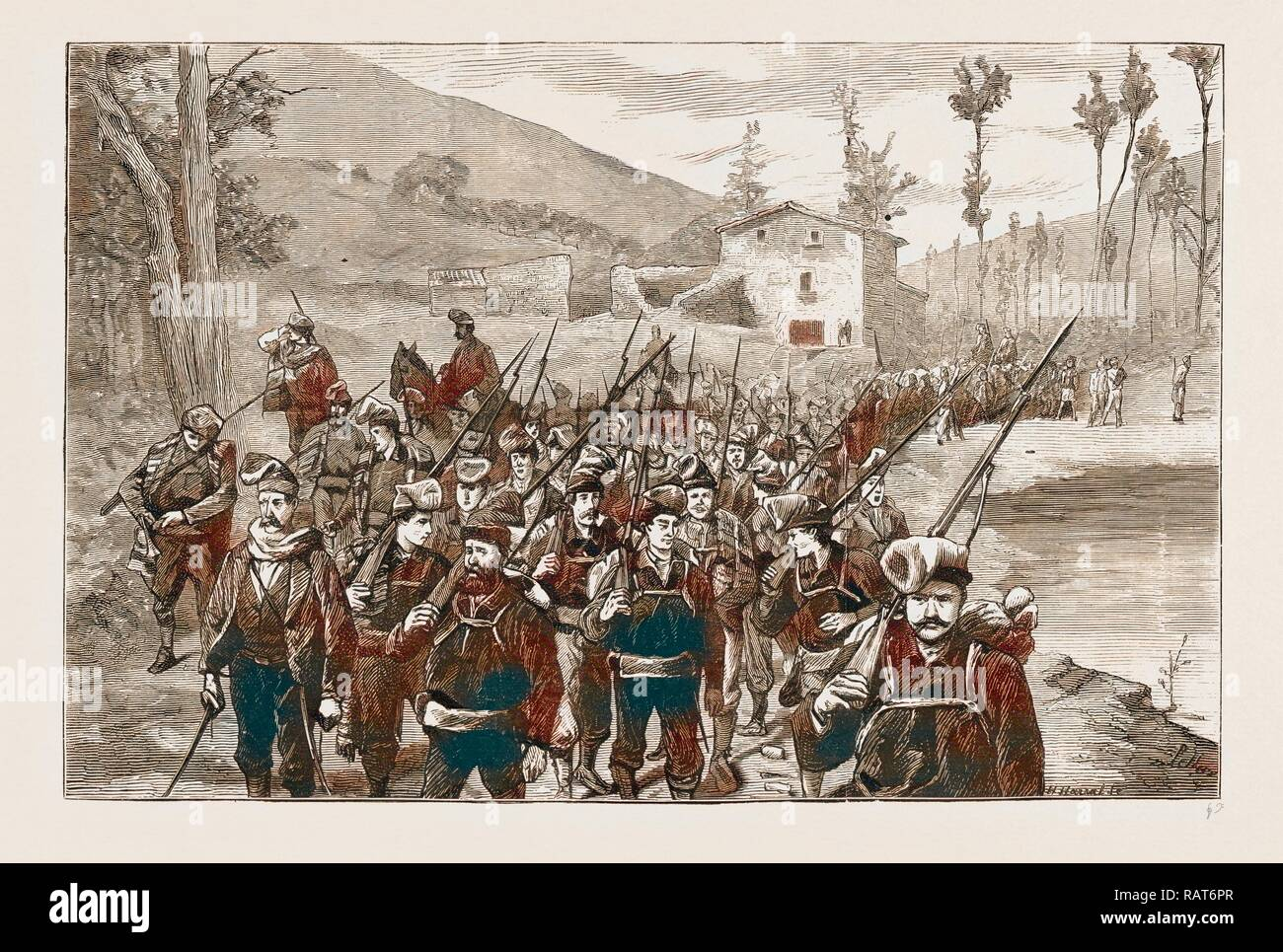 REPUBLICAN VOLUNTEERS IN PURSUIT OF CARLISTS IN THE CATALONIAN MOUNTAIN, SPAIN 1873. Reimagined by Gibon. Classic art reimagined - Stock Image