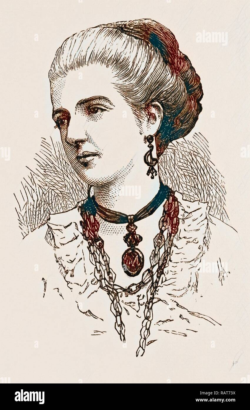 PRINCESS MARGHERITA, ENGRAVING 1873. Reimagined by Gibon. Classic art with a modern twist reimagined - Stock Image