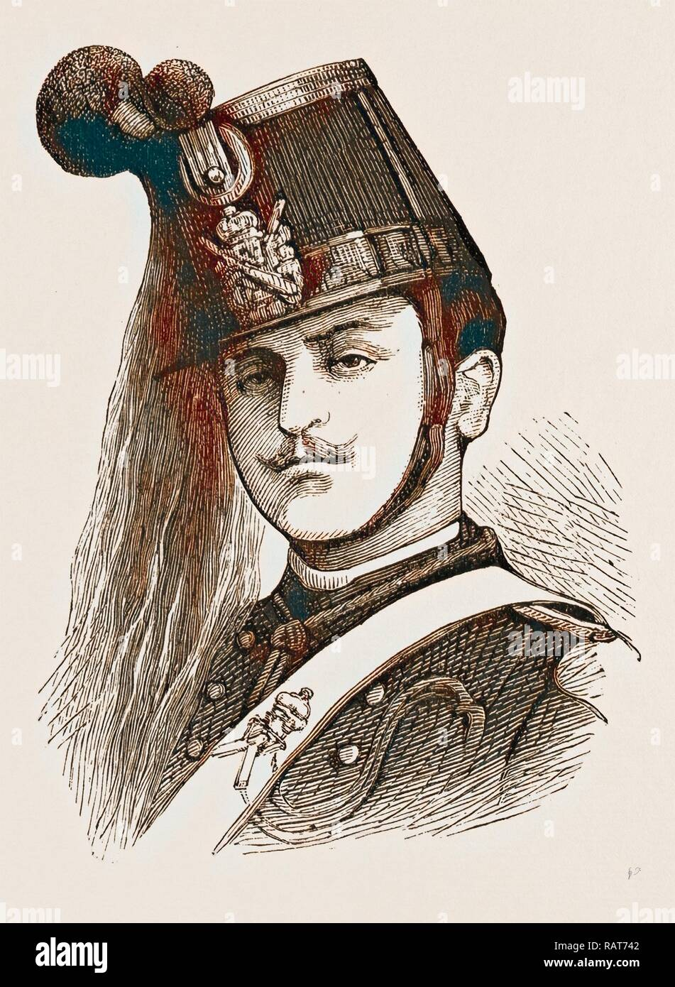 ITALIAN SOLDIER, ENGRAVING 1873, ITALY. Reimagined by Gibon. Classic art with a modern twist reimagined - Stock Image