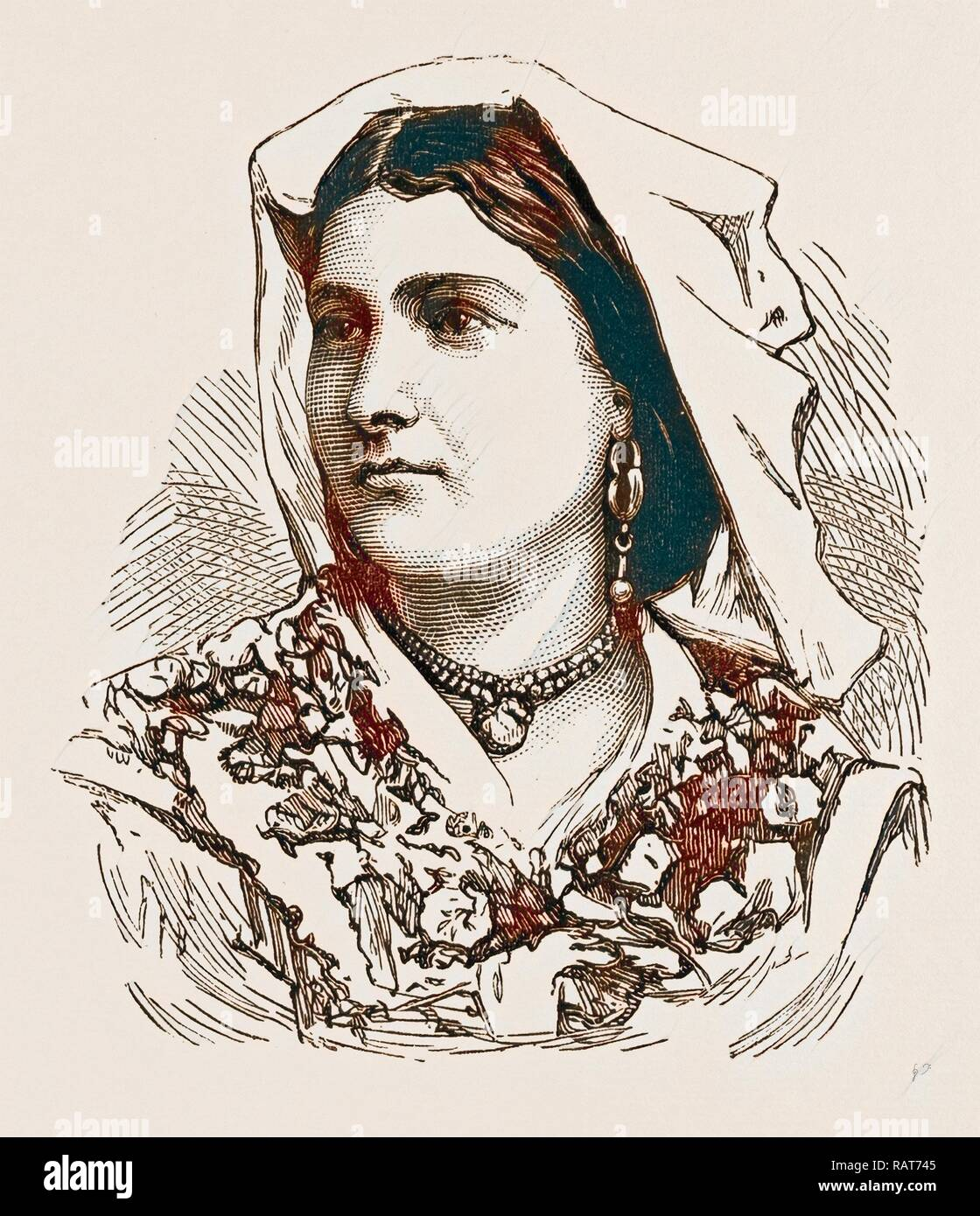 PEASANT WOMAN, ENGRAVING 1873, ITALY. Reimagined by Gibon. Classic art with a modern twist reimagined - Stock Image