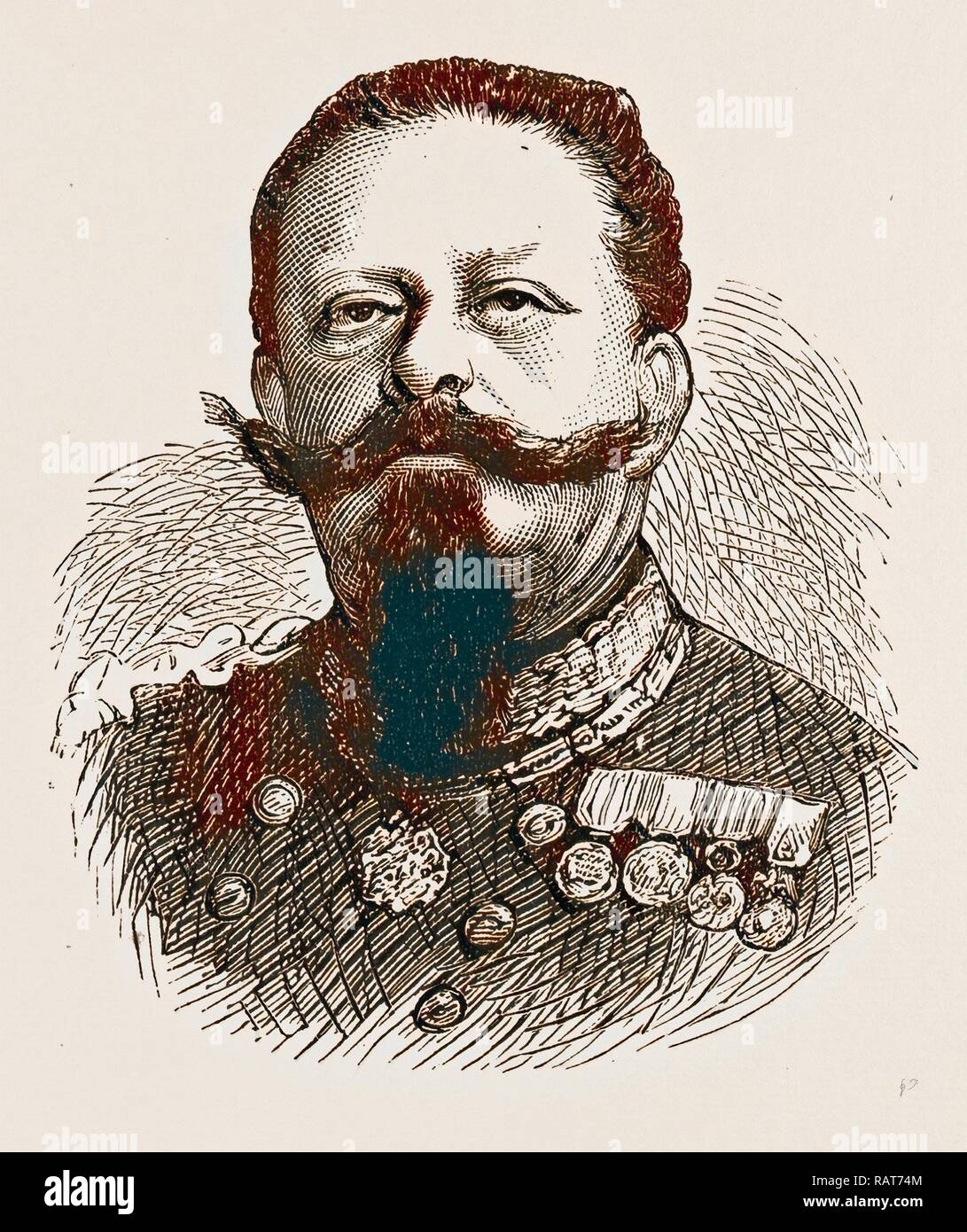 KING VICTOR EMMANUEL, ENGRAVING 1873, ITALY. Reimagined by Gibon. Classic art with a modern twist reimagined - Stock Image