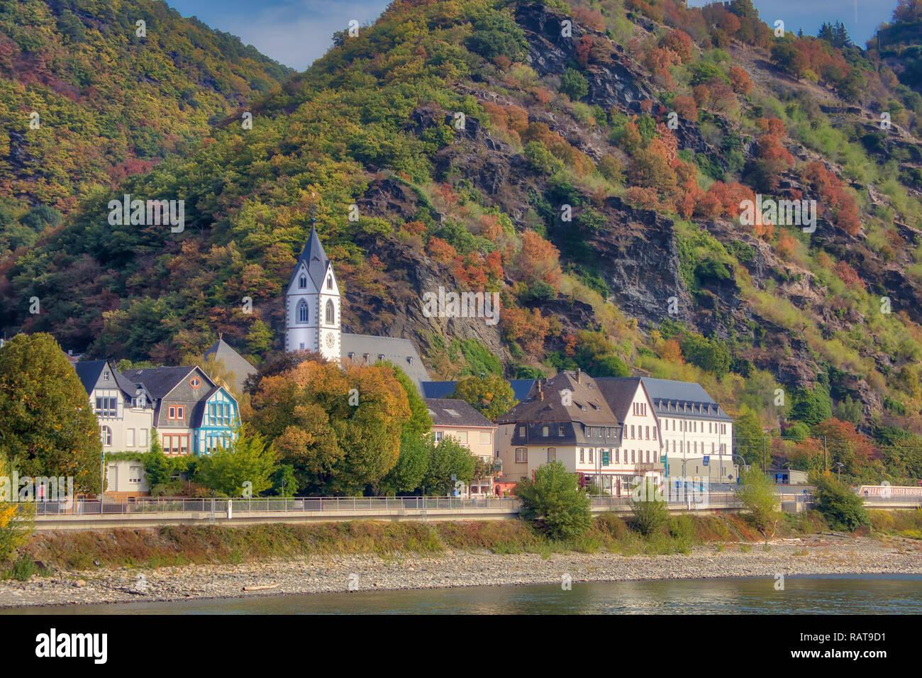 Cruising Rhine River Valley Stock Photo