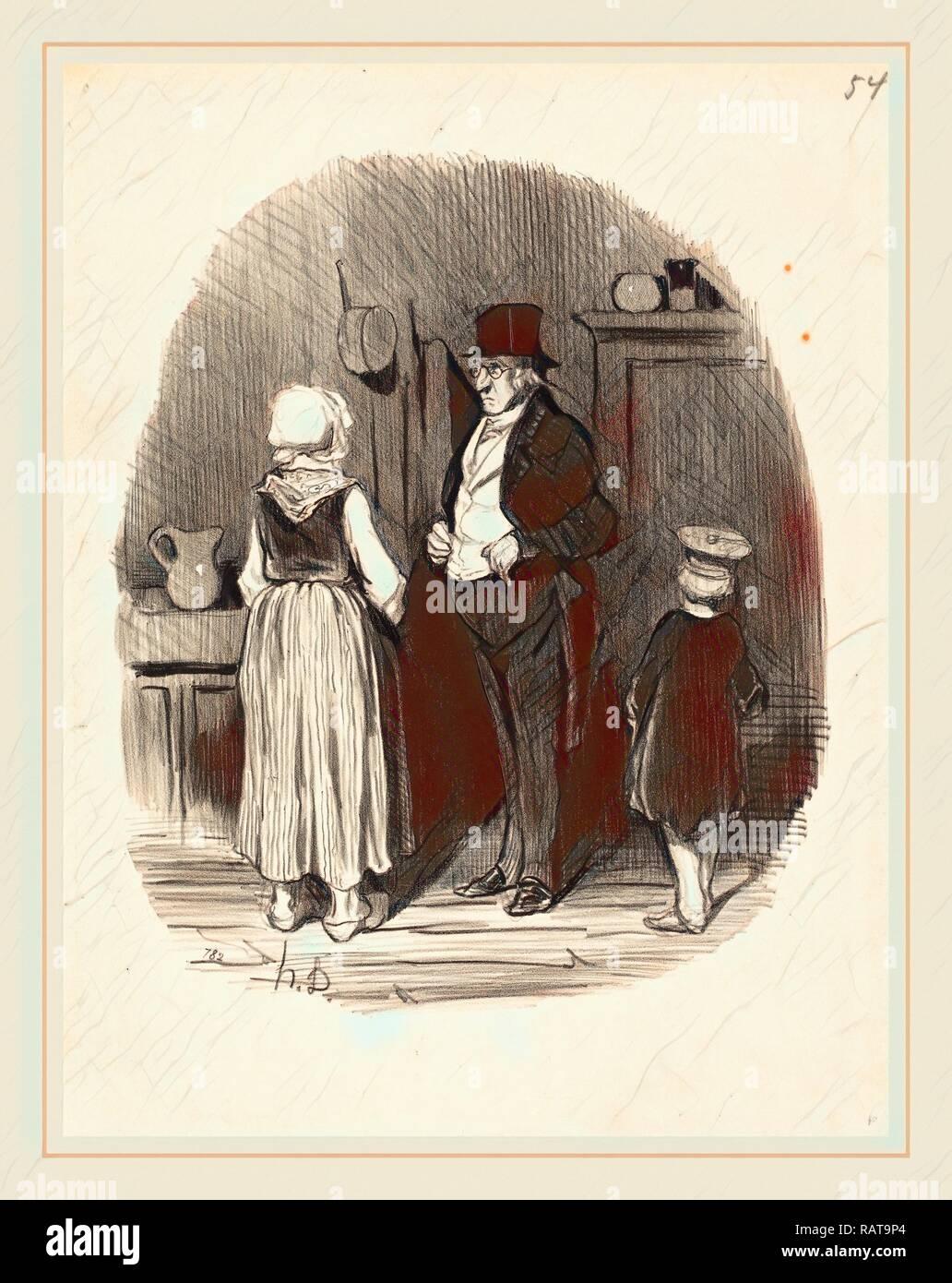 Honoré Daumier (French, 1808-1879), Comment! tous mes moutons sont morts, 1845, lithograph. Reimagined - Stock Image