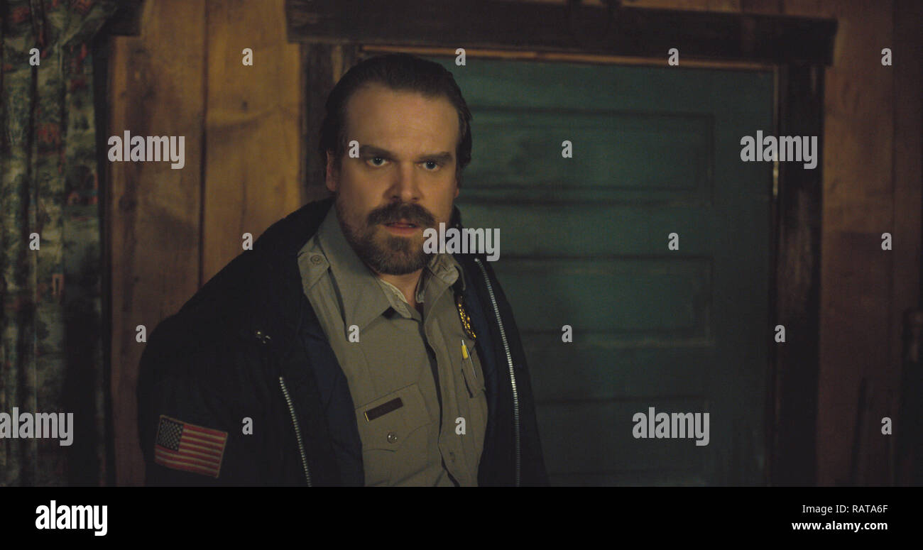 David Harbour, 'Stranger Things' Season 2  (2017)  Credit: Netflix / The Hollywood Archive - Stock Image