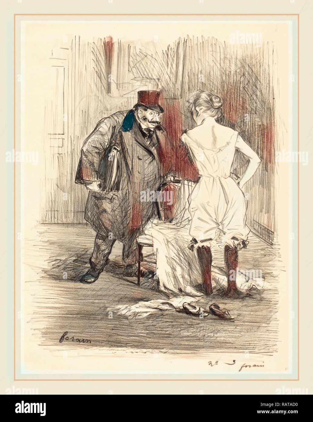Jean-Louis Forain (French, 1852-1931), A Seizure, c. 1891, lithograph. Reimagined by Gibon. Classic art with a modern reimagined - Stock Image