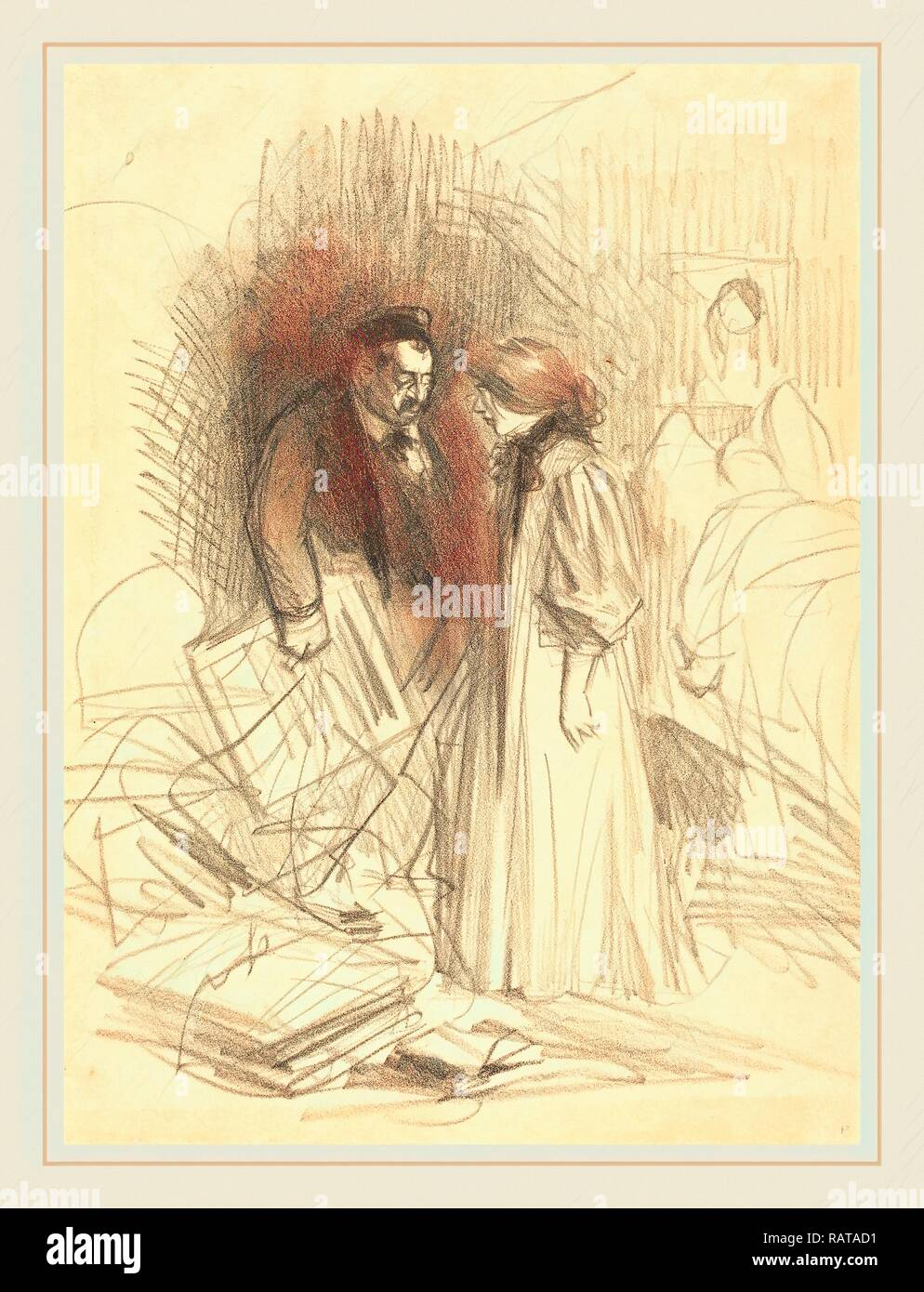 Jean-Louis Forain (French, 1852-1931), 'I don't dare take them down it would hurt him too much.', c. 1892, lithograph reimagined - Stock Image