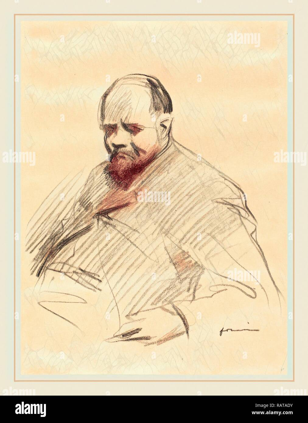 Jean-Louis Forain, Ambroise Vollard, French, 1852-1931, c. 1910, lithograph. Reimagined by Gibon. Classic art with a reimagined - Stock Image