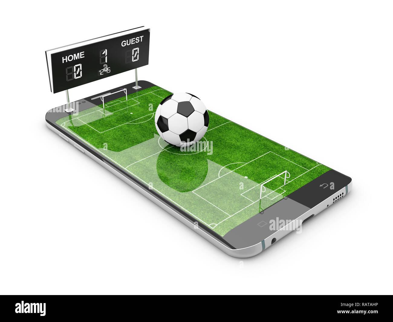 Smart phone as football field, watch online, bet online
