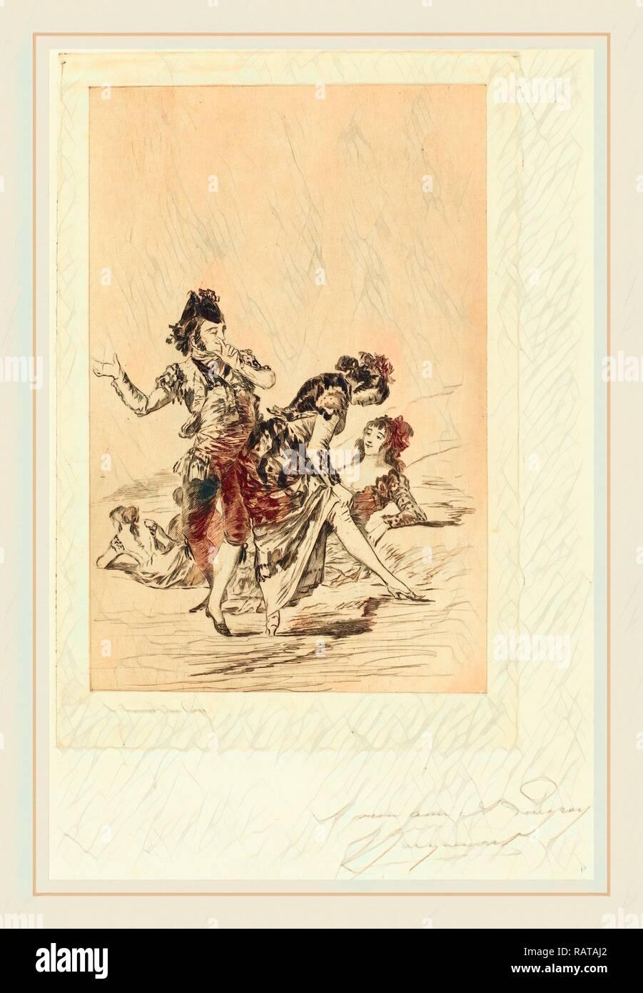 Jules-Ferdinand Jacquemart after Francisco de Goya (French, 1837-1880), Spanish Scene (Scène espagnole), 1863 reimagined - Stock Image