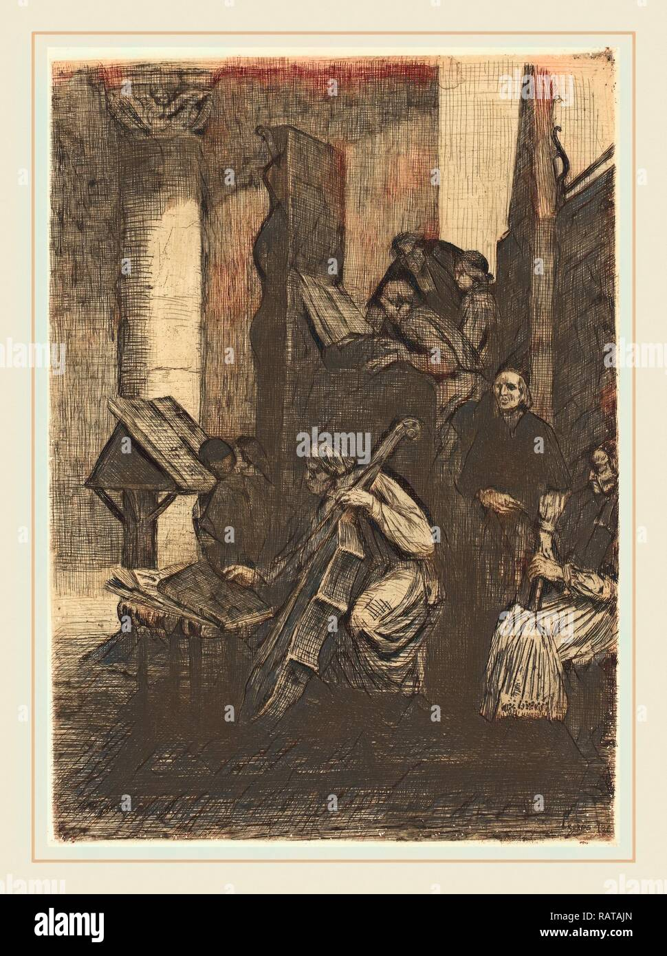 Alphonse Legros (French, 1837-1911), Choir in a Spanish Church (Le choeur d'une eglise espagnole), 1860, etching reimagined - Stock Image