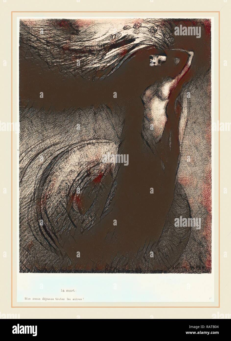 Odilon Redon (French, 1840-1916), La Mort: Mon ironie depasse toutes les autres! (Death: My iron surpasses all others reimagined - Stock Image