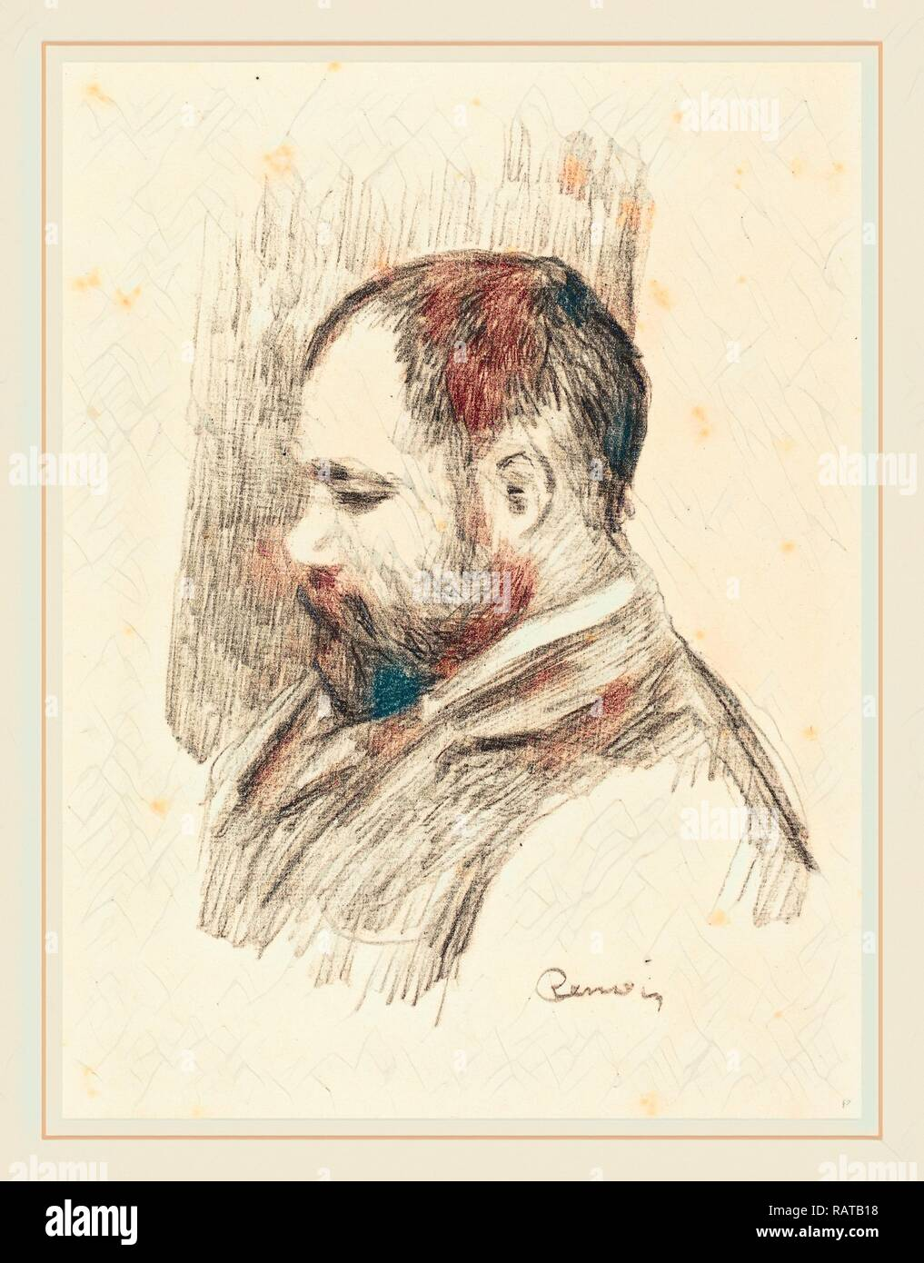 Auguste Renoir, Ambroise Vollard, French, 1841-1919, 1904, lithograph. Reimagined by Gibon. Classic art with a modern reimagined - Stock Image