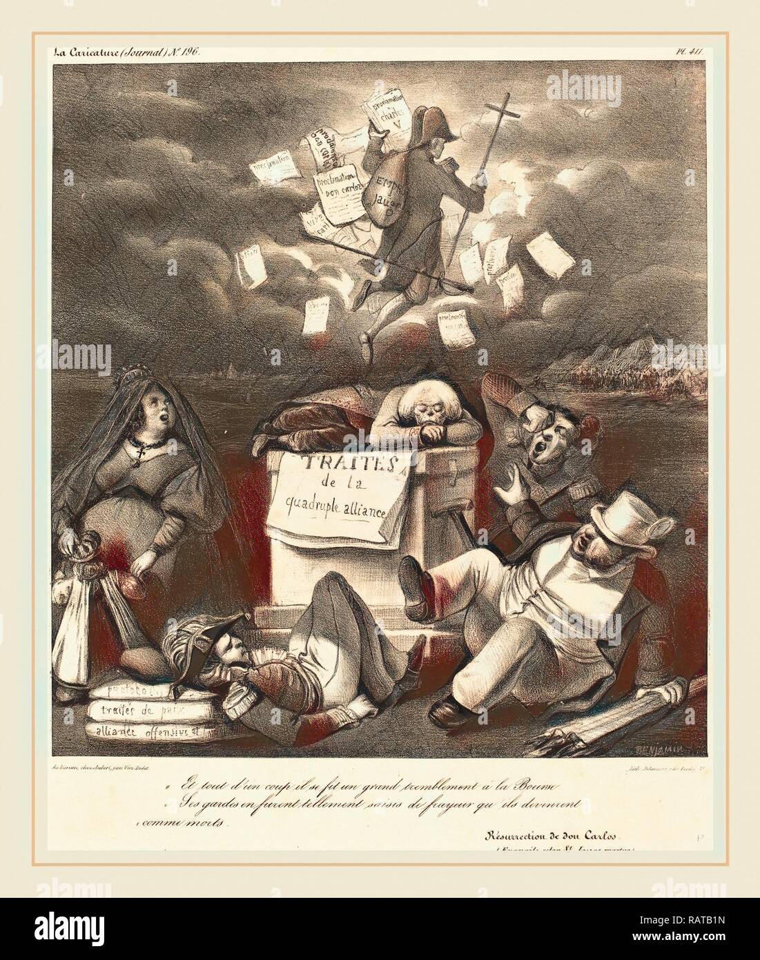 Benjamin Roubaud, Résurrection de don Carlo, 1830s, lithograph. Reimagined by Gibon. Classic art with a modern twist reimagined - Stock Image