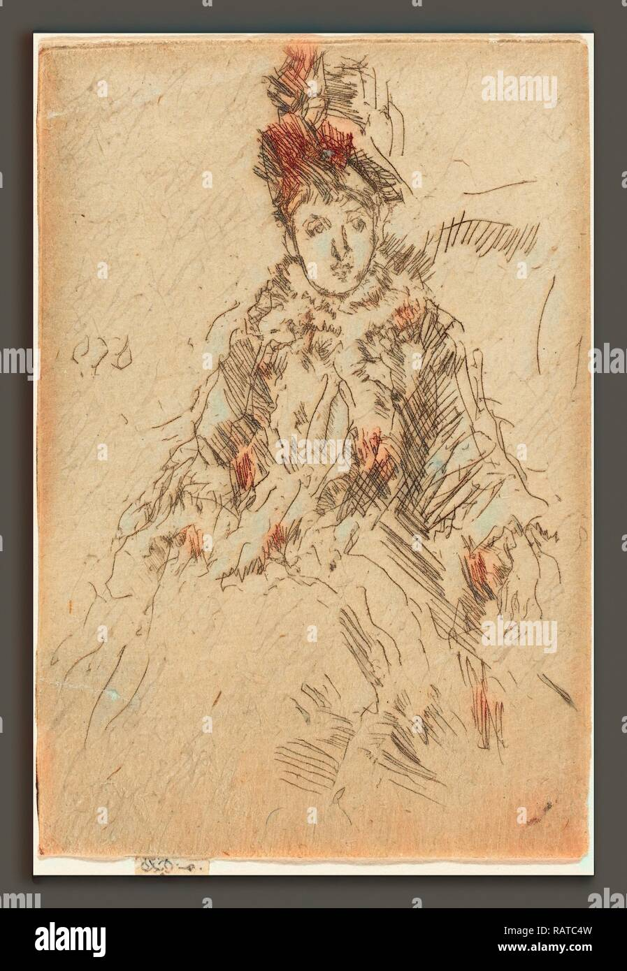 James McNeill Whistler (American, 1834 - 1903), Miss Lenoir, c. 1887, etching and drypoint. Reimagined - Stock Image