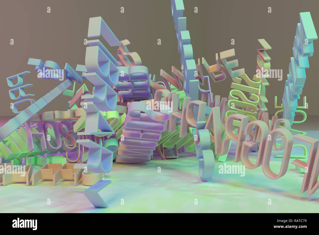 3D rendering  CGI typography, keywords cloud, computer, ICT