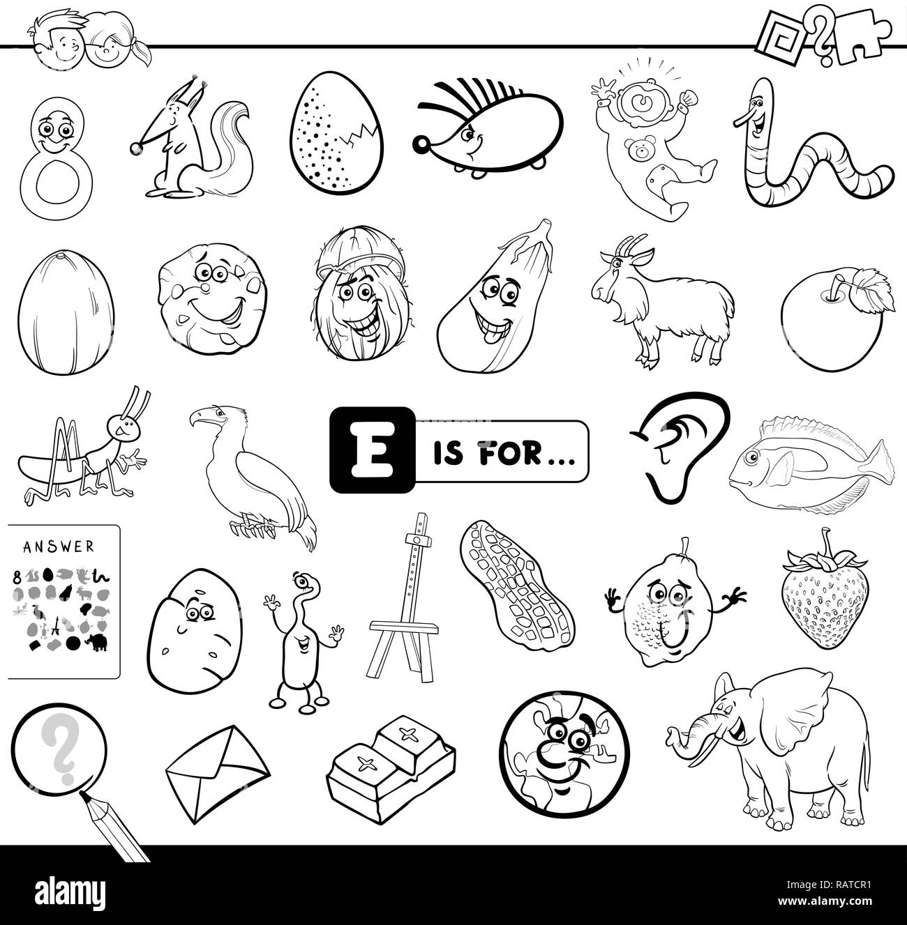 Cartoon Letter E Black And White Stock Photos Images Alamy