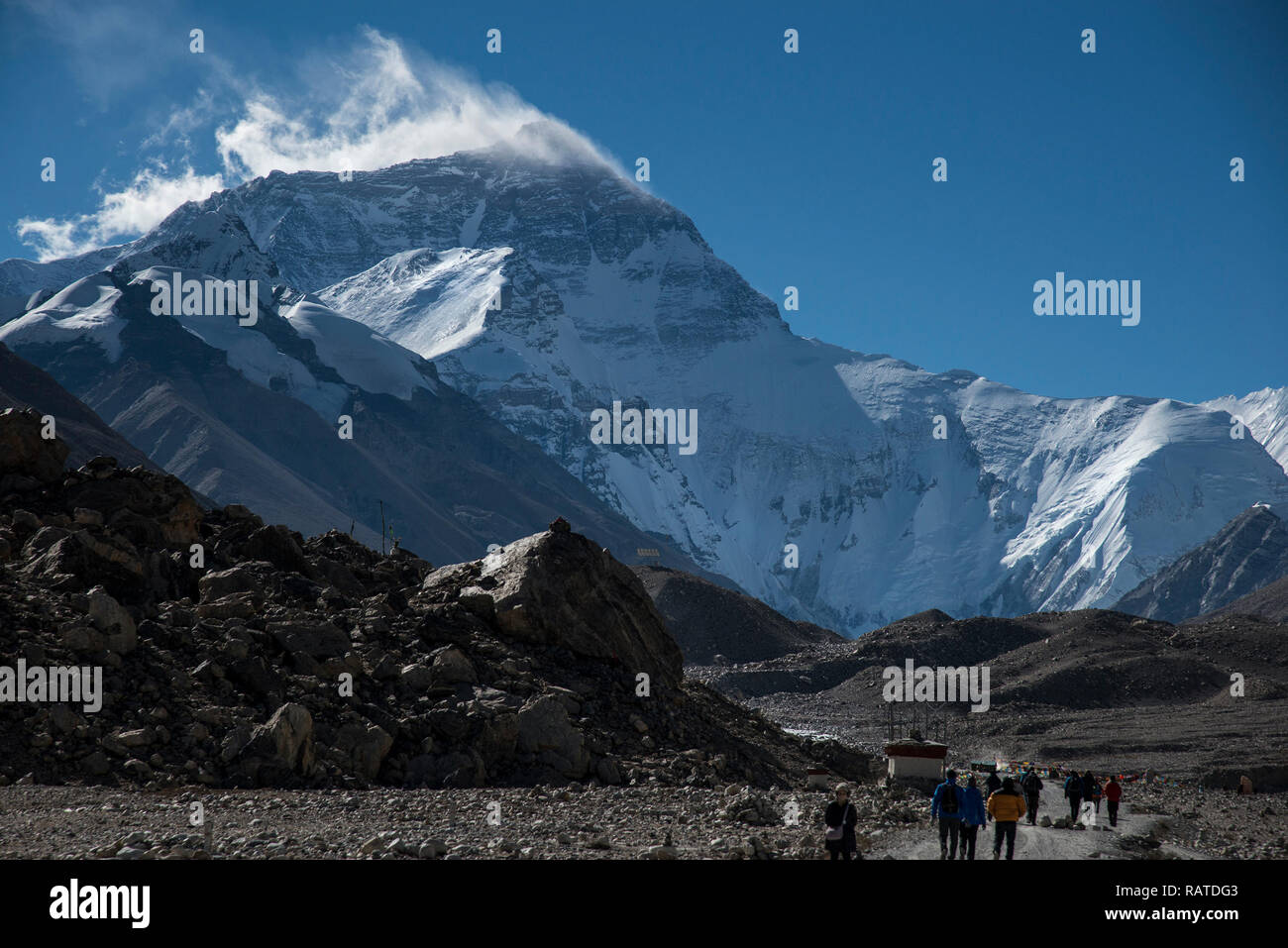 Mt Everest viewed from road leading to the base camp used by climbers - Stock Image