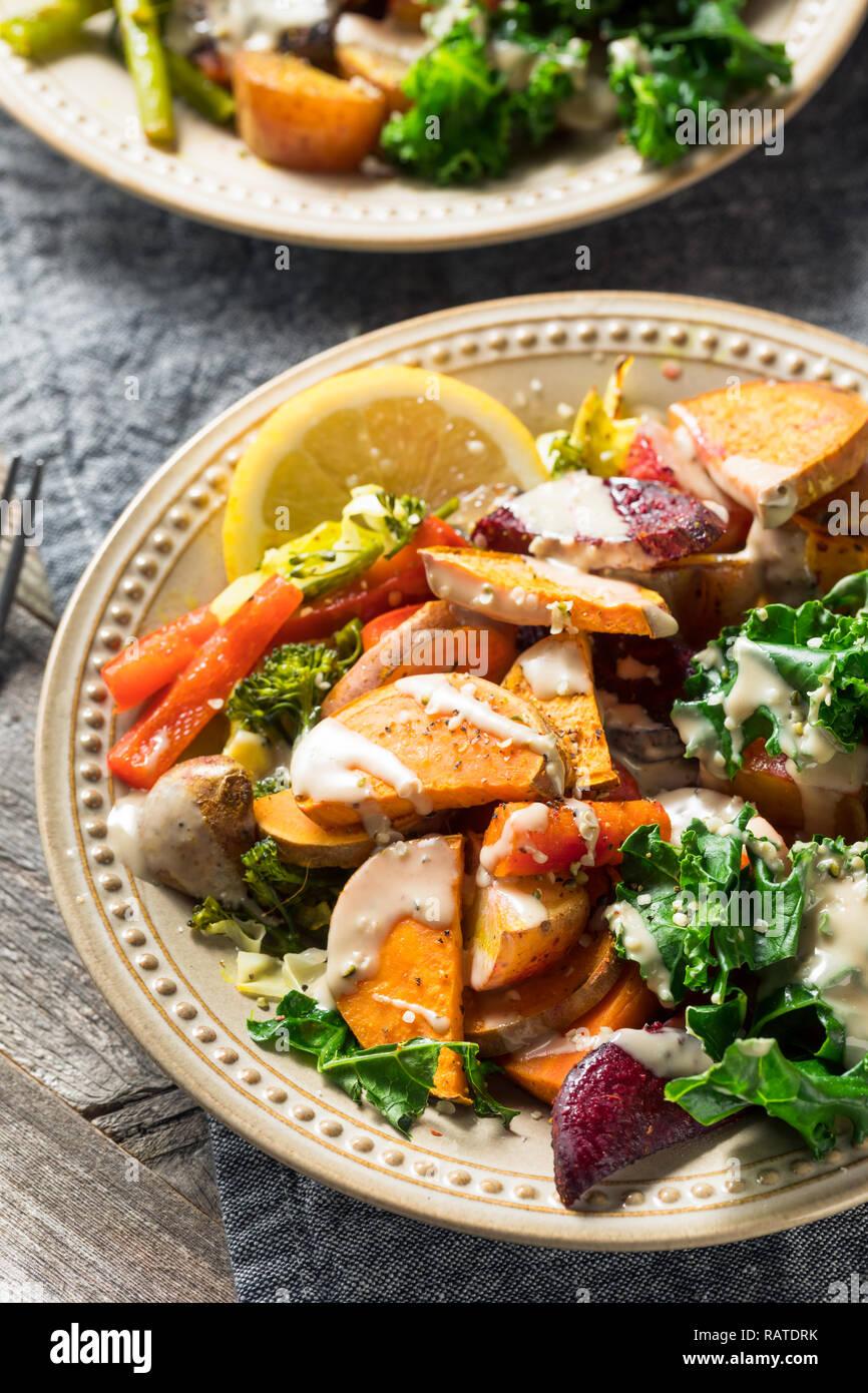 Cooked Organic Vegan Veggie Buddha Bowl with Tahini Sauce - Stock Image