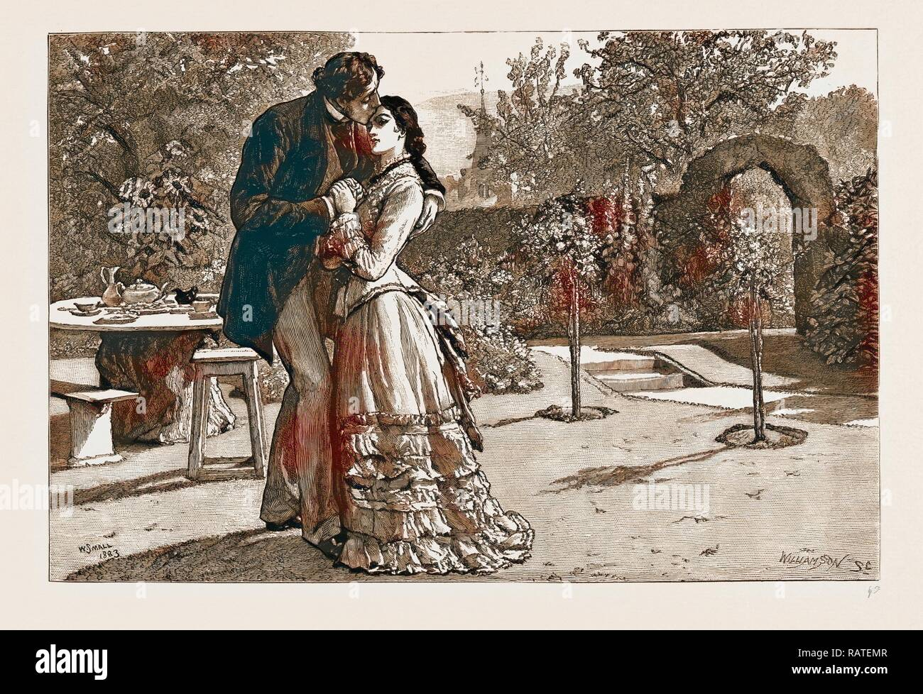 THIRLBY HALL, DRAWN BY WILLIAM SMALL, 1883, Yielding to an uncontrollable impulse, I caught her suddenly in my arms reimagined - Stock Image