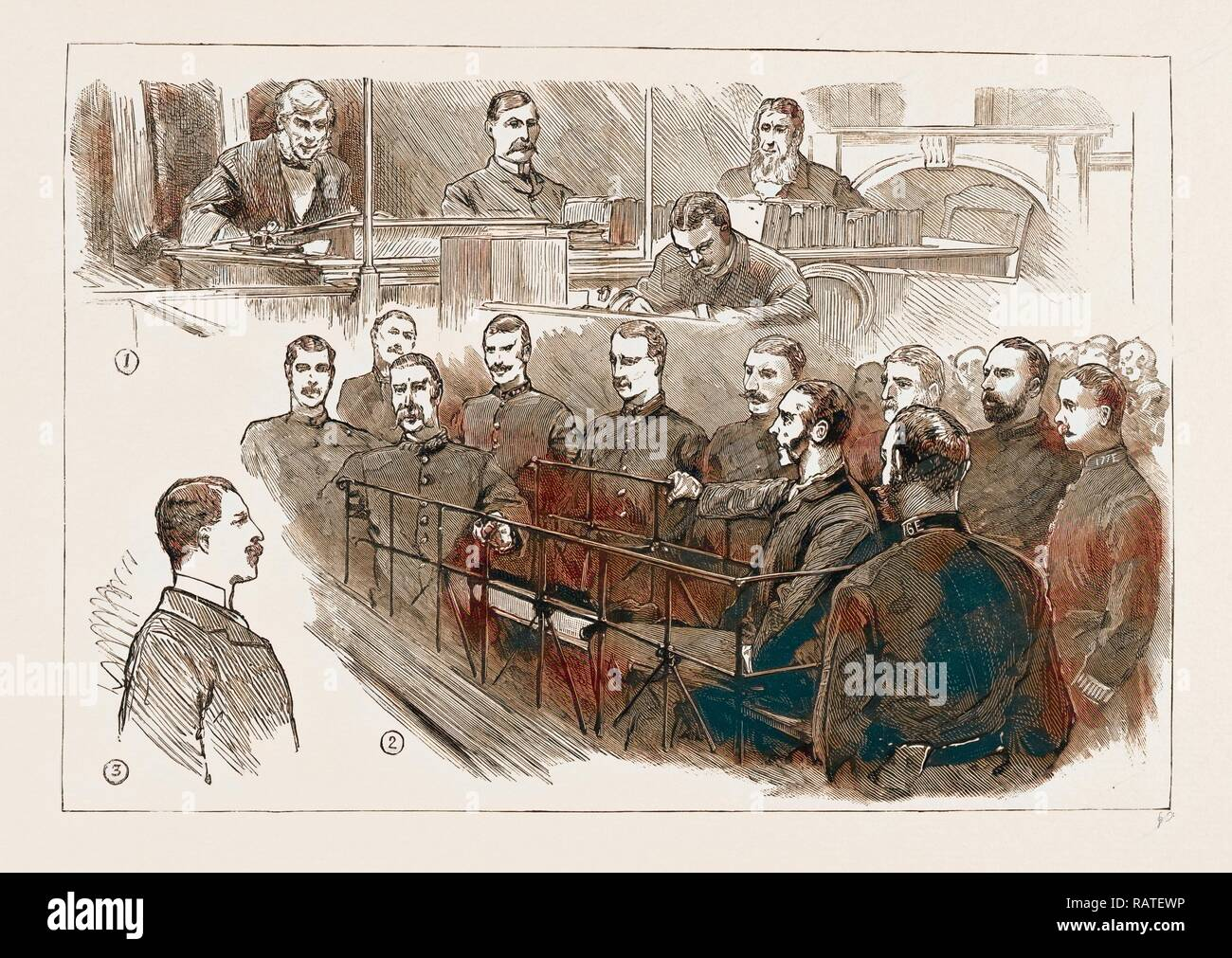 THE ASSASSINATION OF JAMES CAREY, ARRIVAL OF O'DONNELL IN LONDON: THE EXAMINATION OF THE PRISONER AT BOW STREET reimagined - Stock Image