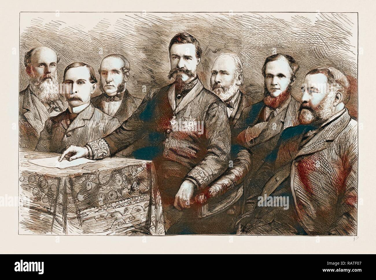 THE SOCIAL SCIENCE CONGRESS AT HUDDERSFIELD: A PORTRAIT GROUP, UK, 1883, MR. C.E. HOWARD VINCENT, DIRECTOR OF reimagined - Stock Image