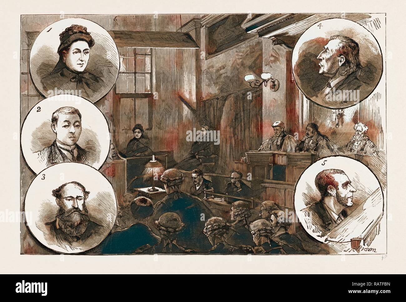THE TRIAL OF PATRICK O'DONNELL AT THE OLD BAILEY FOR THE MURDER OF JAMES CAREY ON THE HIGH SEAS, SCENE IN COURT reimagined - Stock Image