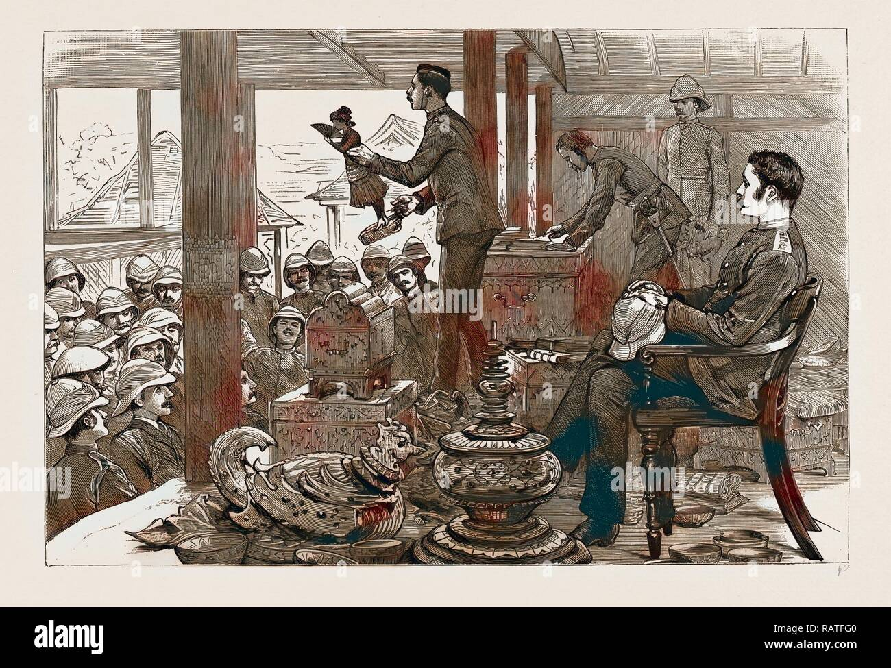 WITH LORD DUFFERIN IN BURMA: A LOOT AUCTION IN THE PALACE, MANDALAY, 1886. Reimagined by Gibon. Classic art with a reimagined - Stock Image