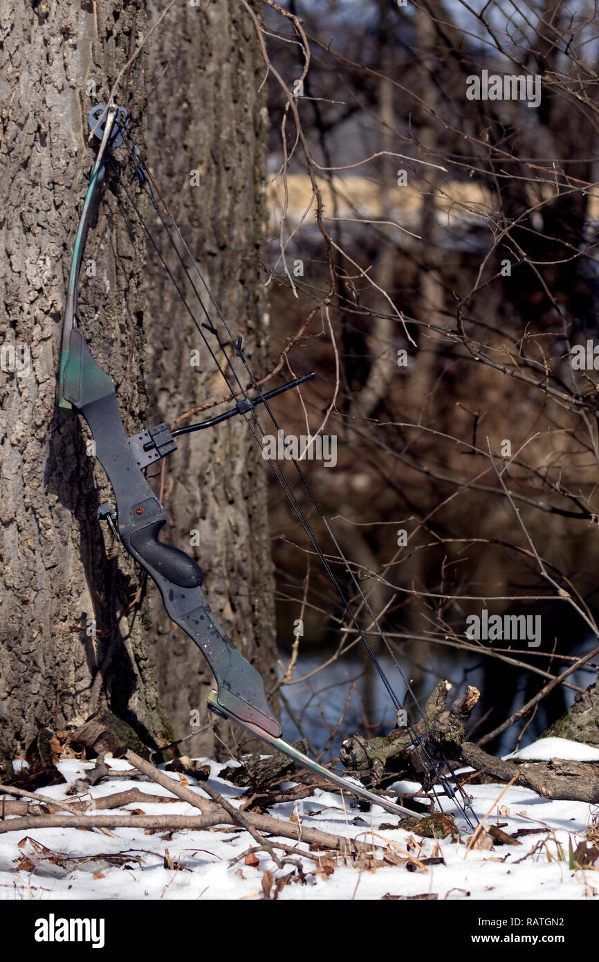 Hunting bow that seen better days resting against a tree. - Stock Image