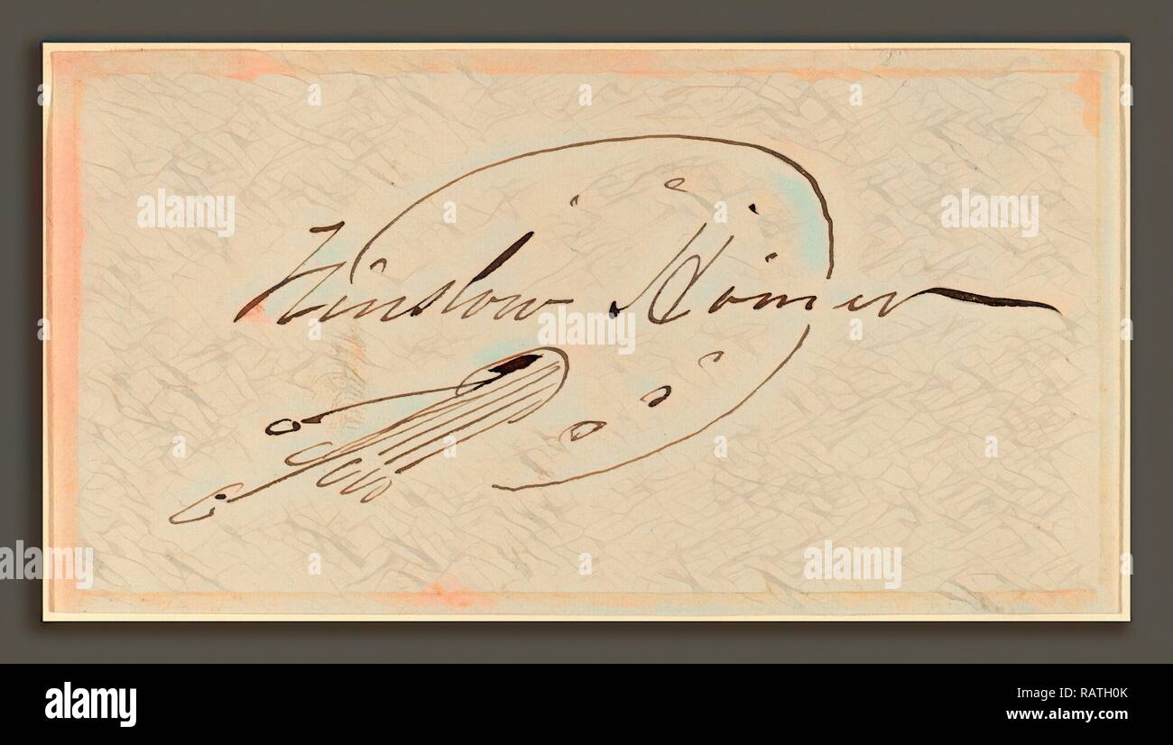 Winslow Homer, Signature in Palette, American, 1836 - 1910, pen and brown ink on wove paper. Reimagined - Stock Image
