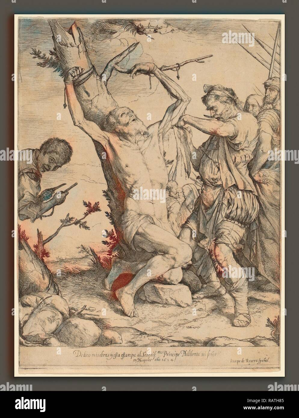 Jusepe de Ribera, The Martyrdom of Saint Bartholomew, Spanish, 1591 - 1652, 1624, etching and engraving. Reimagined - Stock Image
