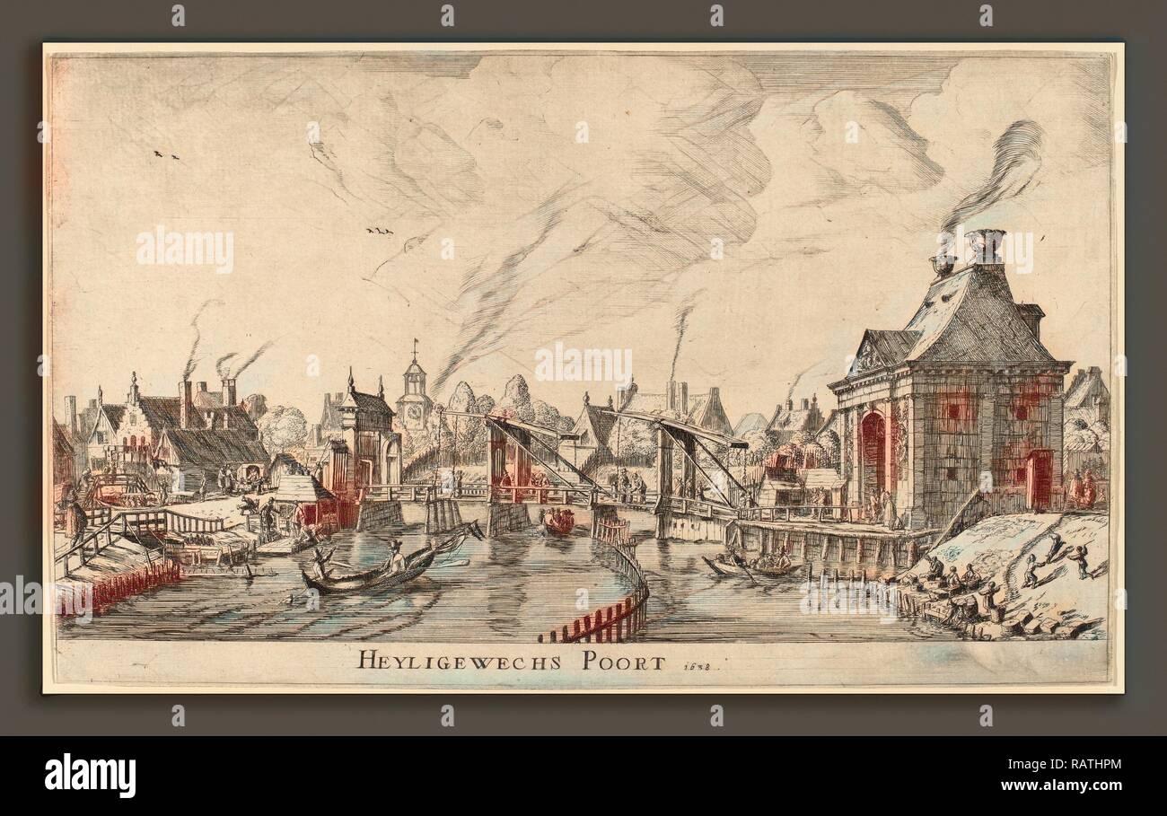 Reinier Zeeman (Dutch, 1624 - 1664), Heyligeweg Gate (Heyligewechs Poort), 1638, etching. Reimagined - Stock Image