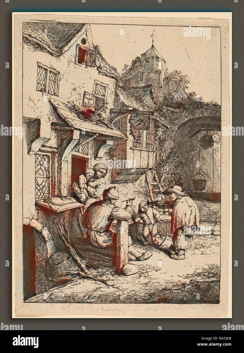 Adriaen van Ostade (Dutch, 1610 - 1685), Hunchbacked Fiddler, 1654, etching. Reimagined by Gibon. Classic art with a reimagined - Stock Image