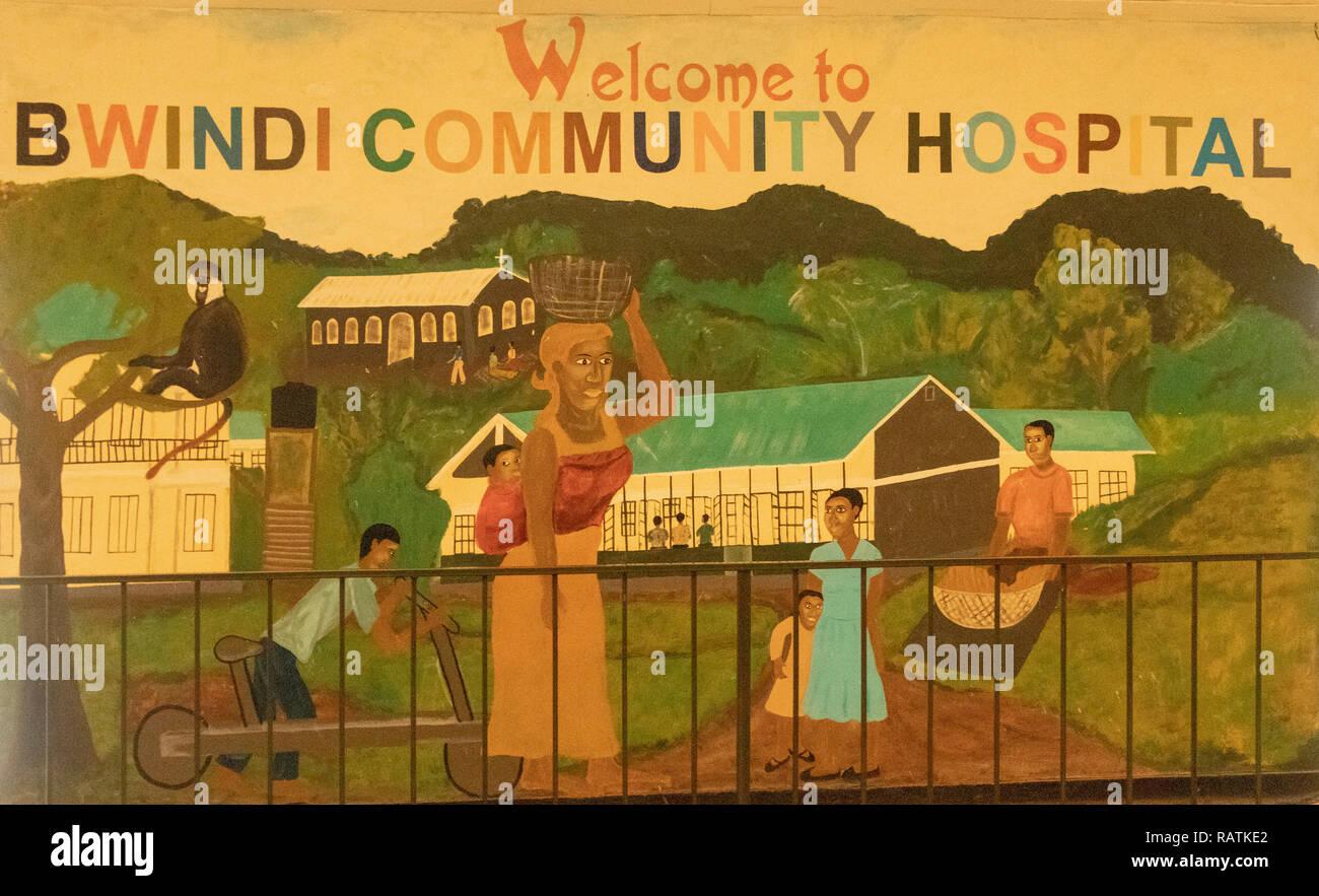 Welcome to Bwindi Community Hospital mural painting, Bwindi, Uganda, Africa - Stock Image