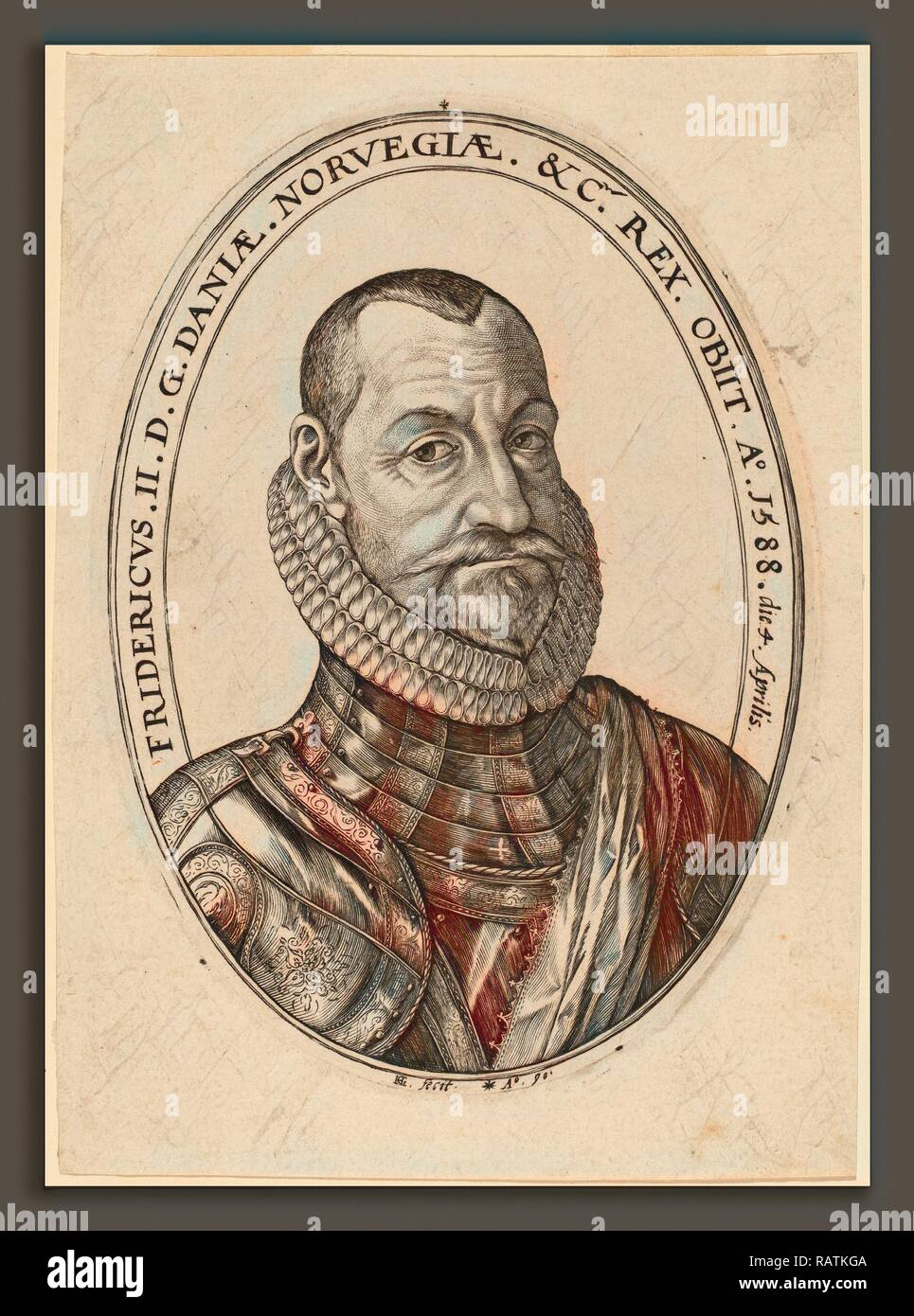 Hendrik Goltzius (Dutch, 1558 - 1617), Frederick II, 1590, engraving. Reimagined by Gibon. Classic art with a modern reimagined - Stock Image
