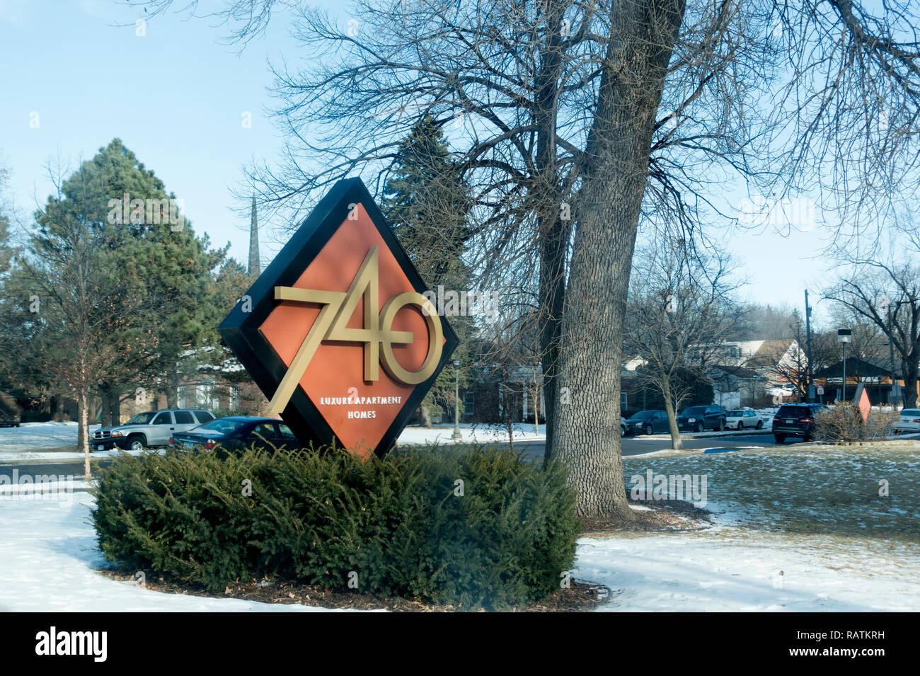 Address Sign For The Upscale 740 Luxury Apartment Homes Building On North Mississippi River Boulevard St Paul Minnesota Mn Usa Stock Photo Alamy