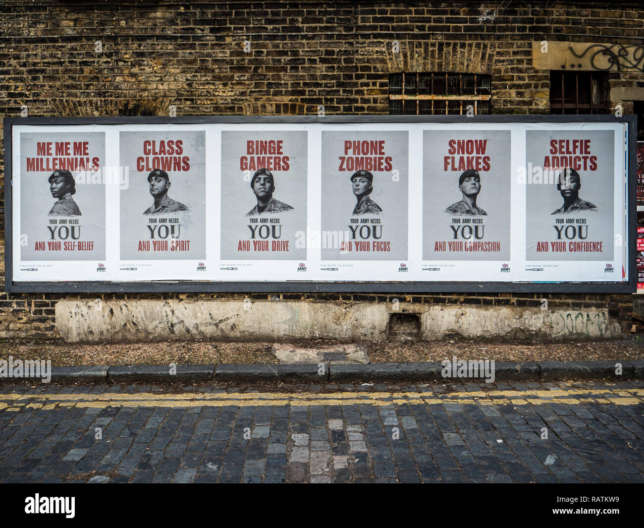 Army Recruitment Posters East London - controversial British Army Recruitment Posters designed to appeal to a more diverse range of young people - Stock Image