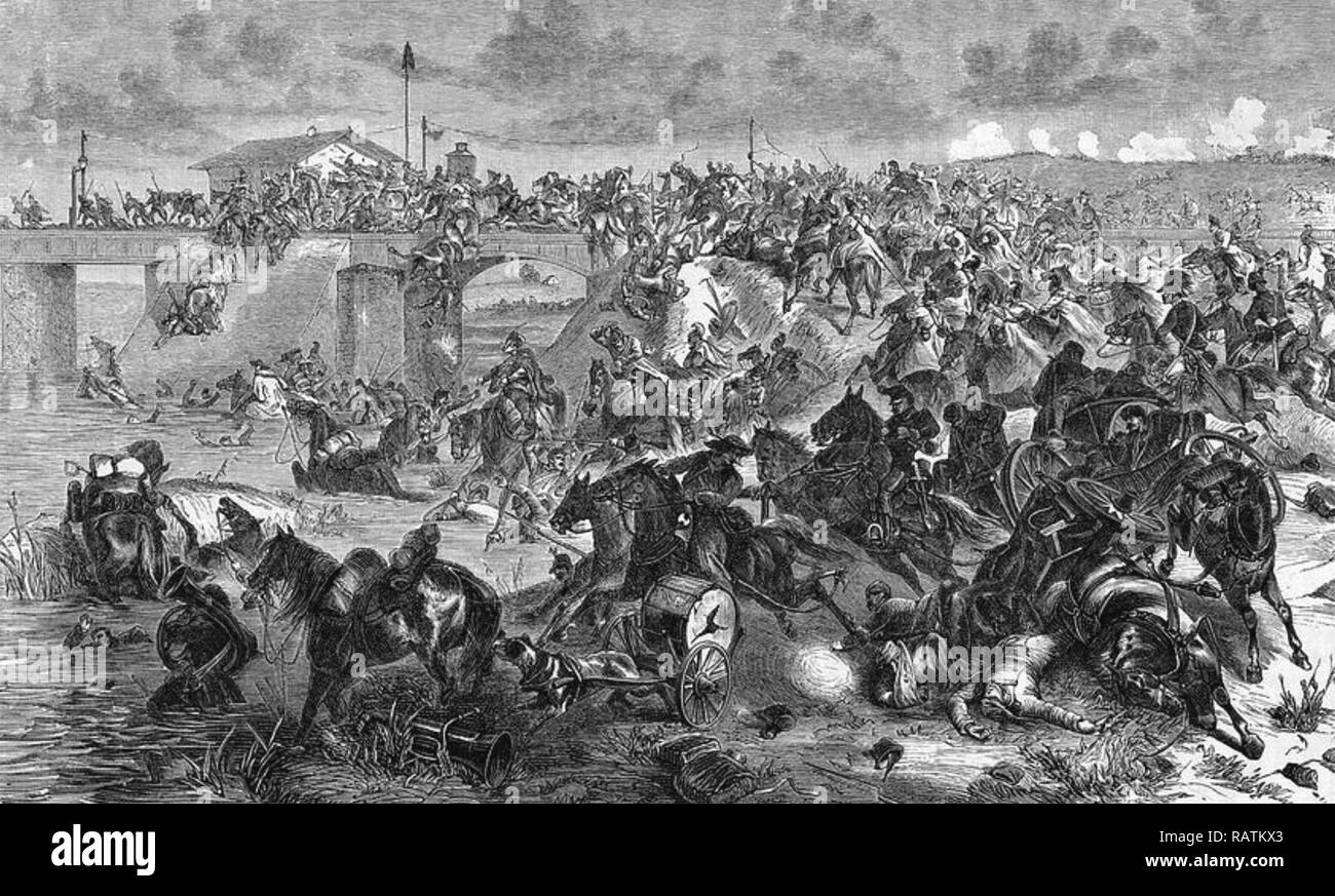 BATTLE OF KÖNIGGRÄTZ 3 July 1866 The Prussian attempt to cross the Bystrice River - Stock Image
