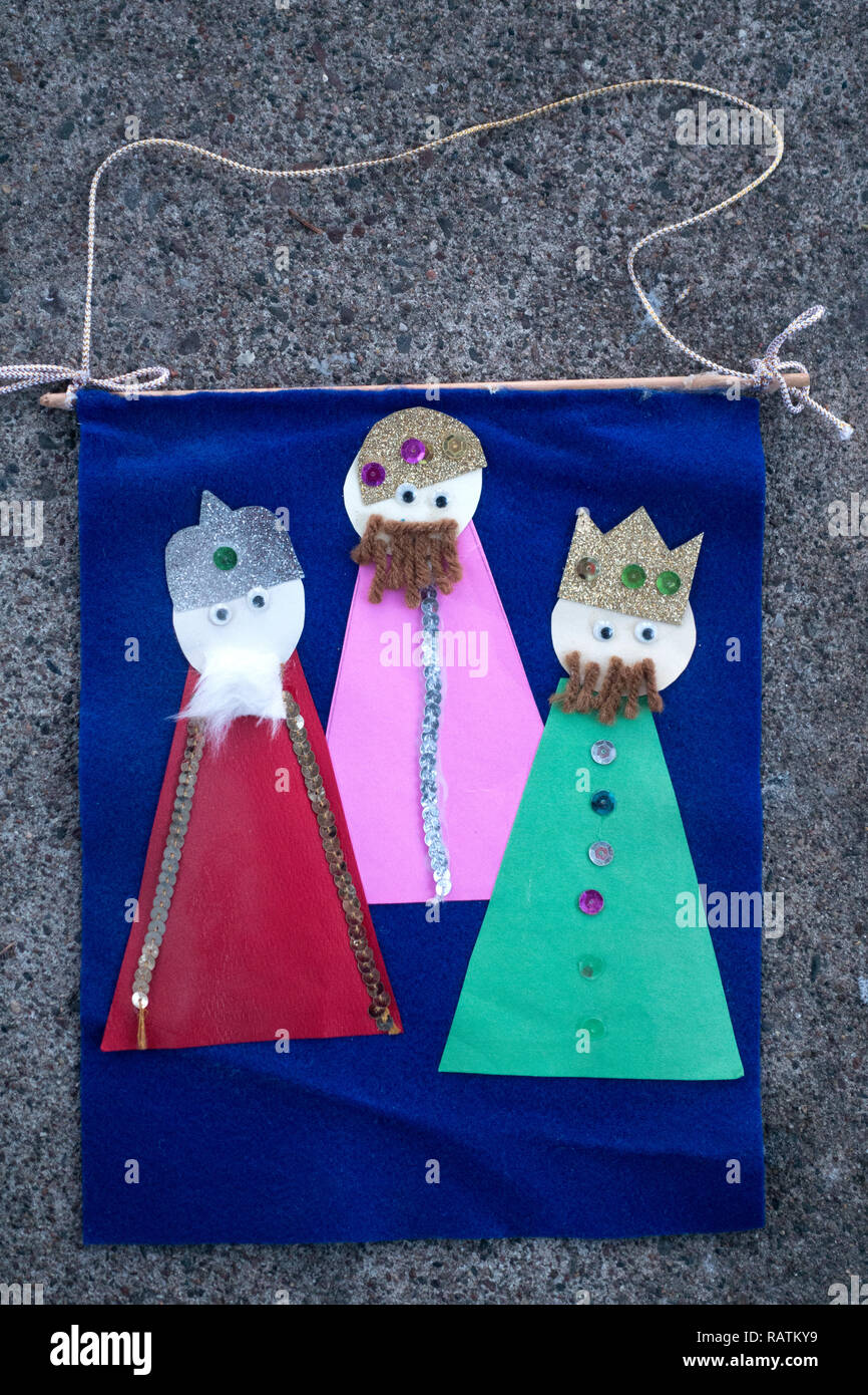 Banner made by a child in Sunday School of the Three Kings at the Nativity. St Paul Minnesota MN USA - Stock Image