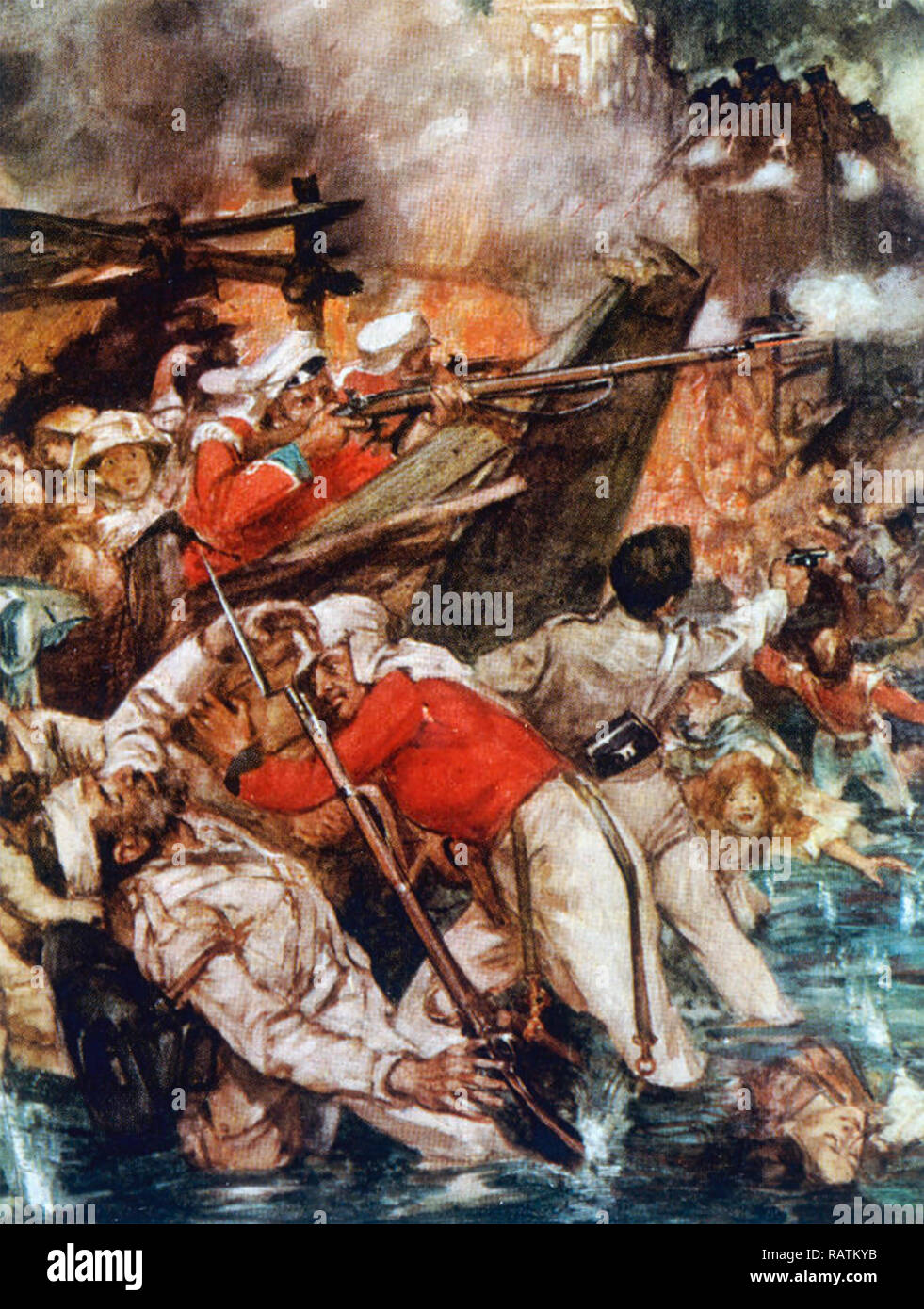 INDIAN REBELLION 1857 English residents and soldiers at the Siege of Cawnpore Stock Photo