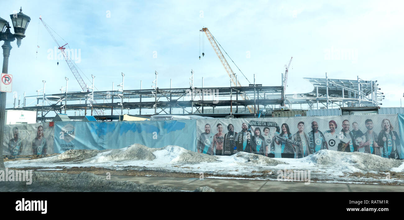Building Minnesota United FC soccer stadium Allianz Field pix of fans wearing scarves & Target symbol shirts Feb. 17, 2018. St Paul Minnesota MN USA - Stock Image